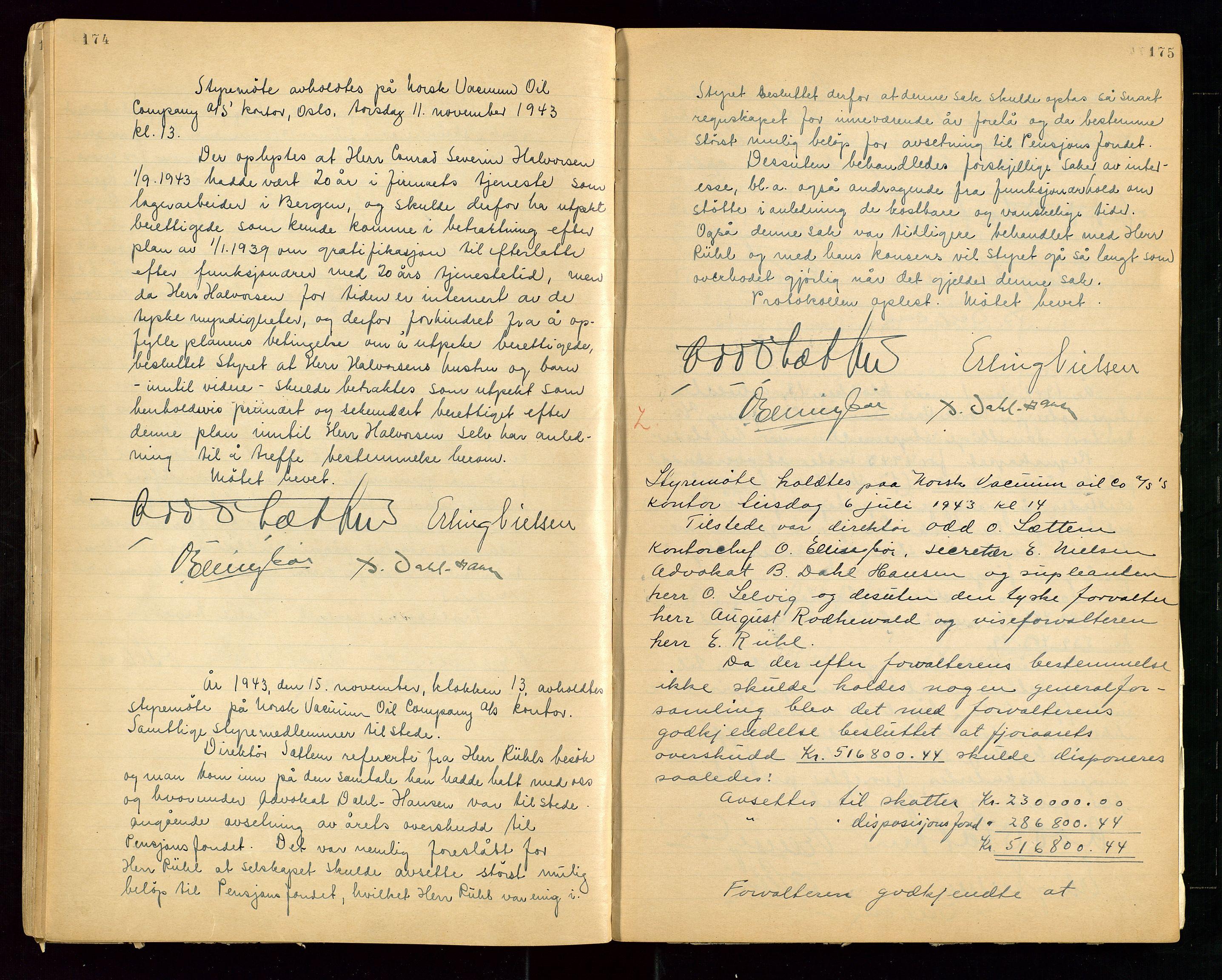 """SAST, PA 1513 - Norsk Vacuum Oil Company A/S, A/L0001: """"Generalforsamlings og styreprotokoll"""" fra 27/4-1918 til 6/4-1949, 1918-1949, s. 174-175"""