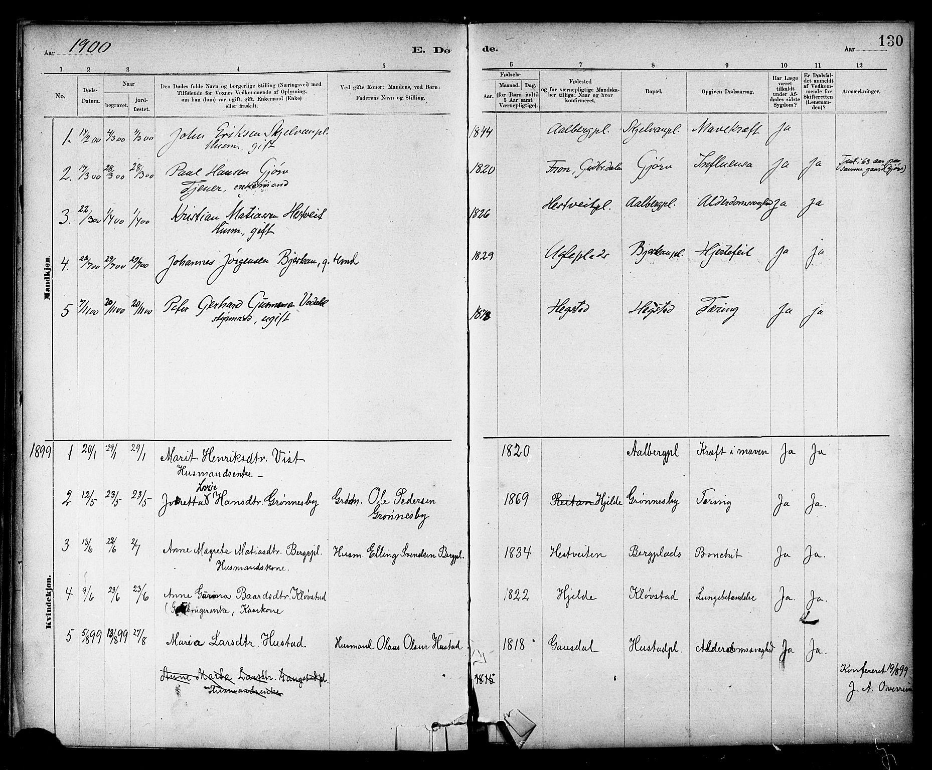 SAT, Ministerialprotokoller, klokkerbøker og fødselsregistre - Nord-Trøndelag, 732/L0318: Klokkerbok nr. 732C02, 1881-1911, s. 130