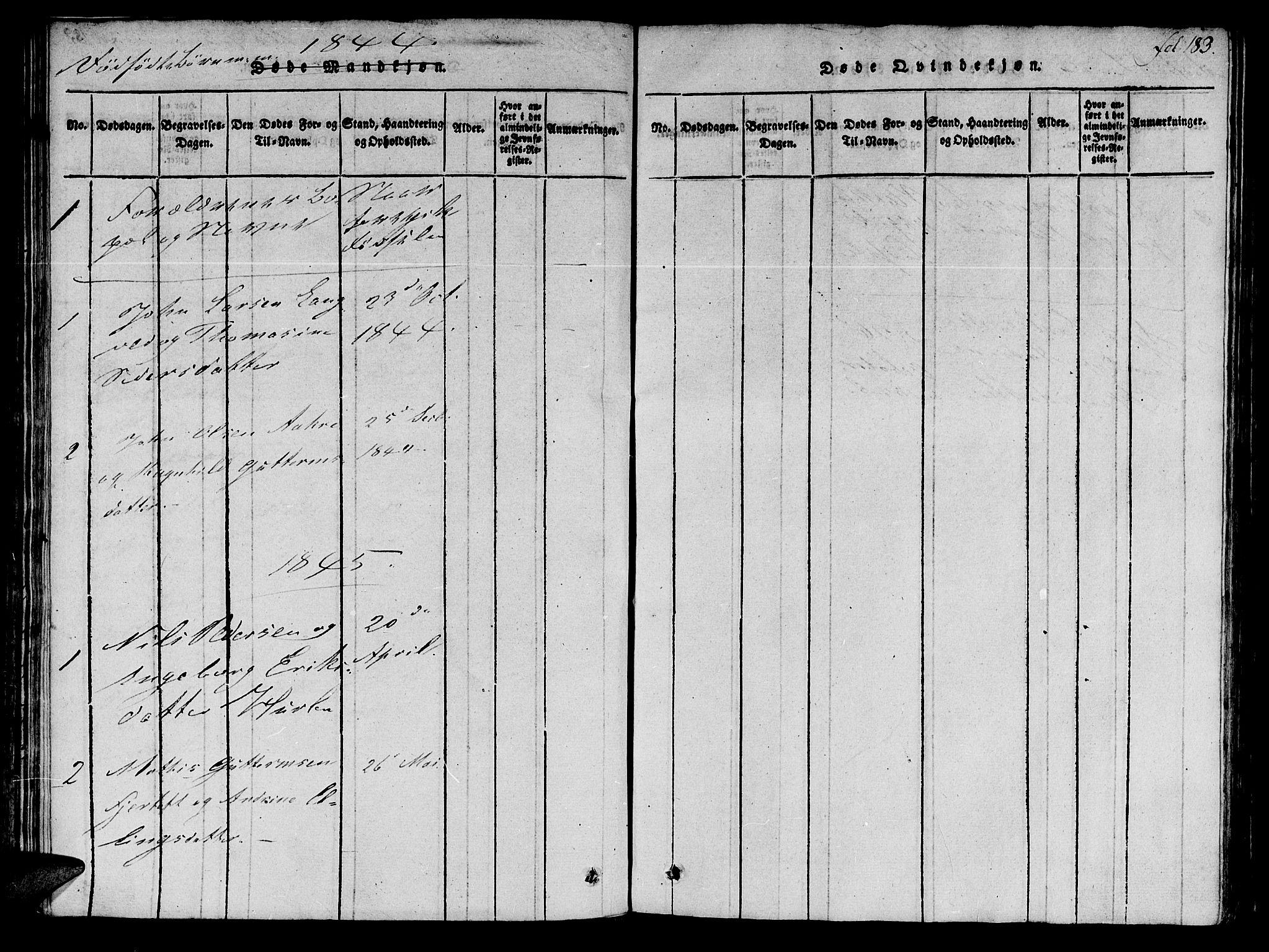 SAT, Ministerialprotokoller, klokkerbøker og fødselsregistre - Møre og Romsdal, 536/L0495: Ministerialbok nr. 536A04, 1818-1847, s. 183
