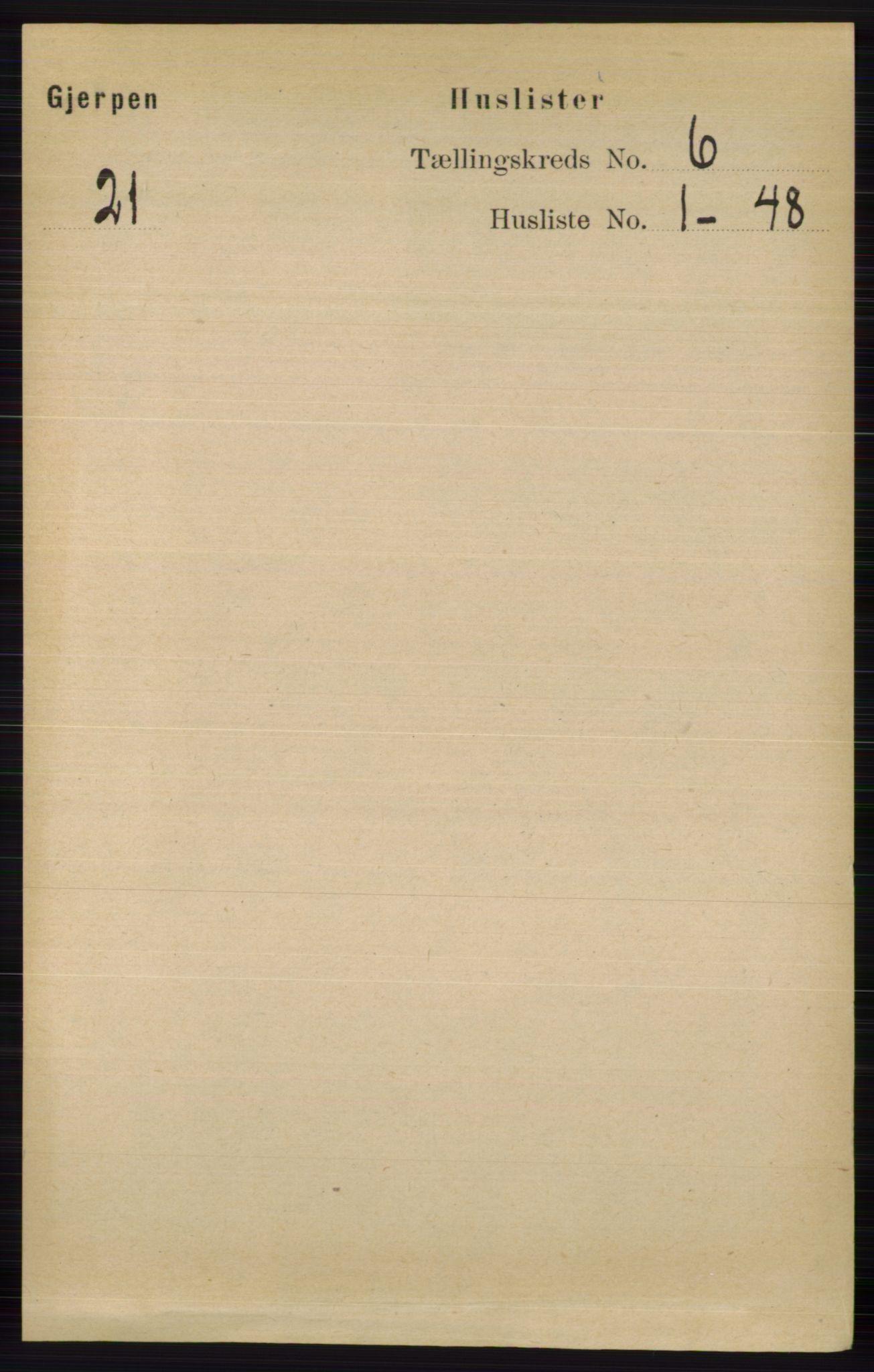 RA, Folketelling 1891 for 0812 Gjerpen herred, 1891, s. 2911