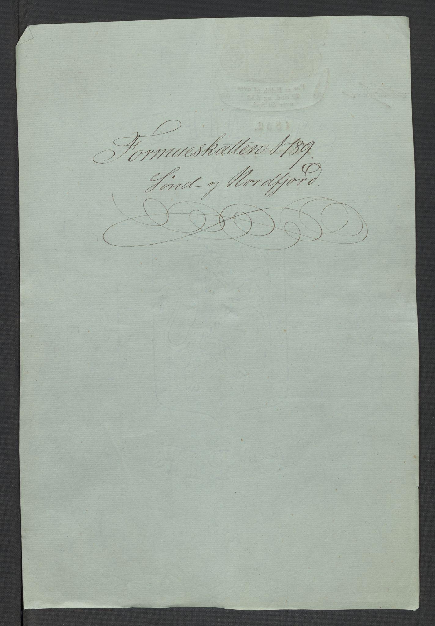 RA, Rentekammeret inntil 1814, Reviderte regnskaper, Mindre regnskaper, Rf/Rfe/L0048: Sunnfjord og Nordfjord fogderier, 1789, s. 3