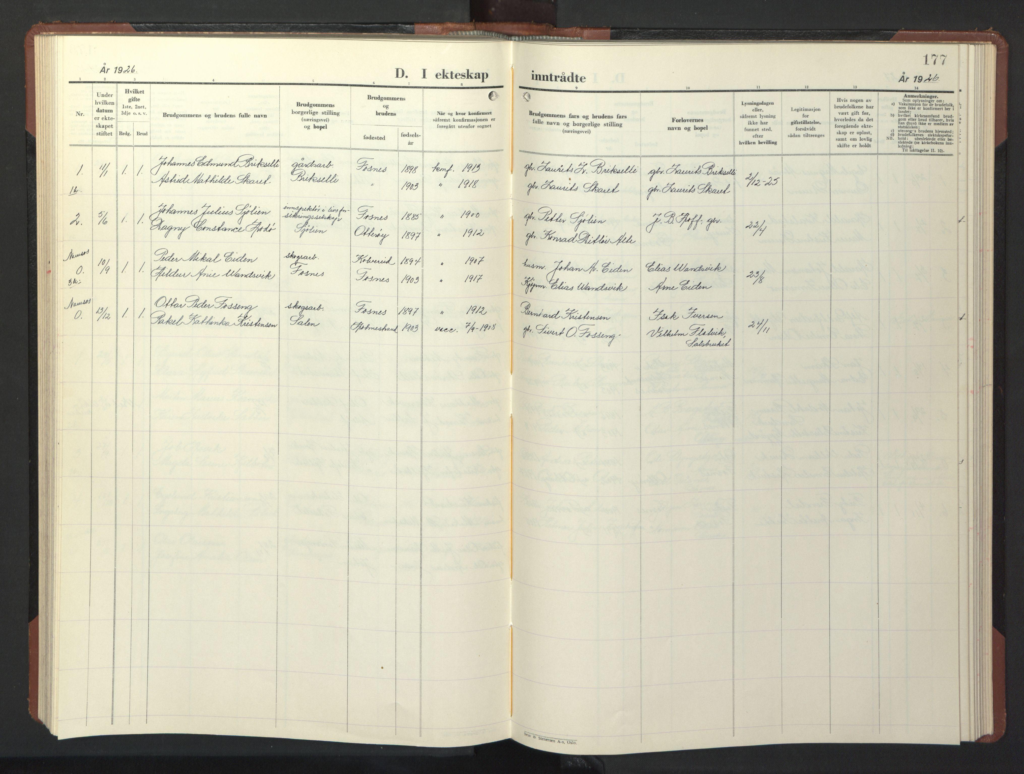 SAT, Ministerialprotokoller, klokkerbøker og fødselsregistre - Nord-Trøndelag, 773/L0625: Klokkerbok nr. 773C01, 1910-1952, s. 177