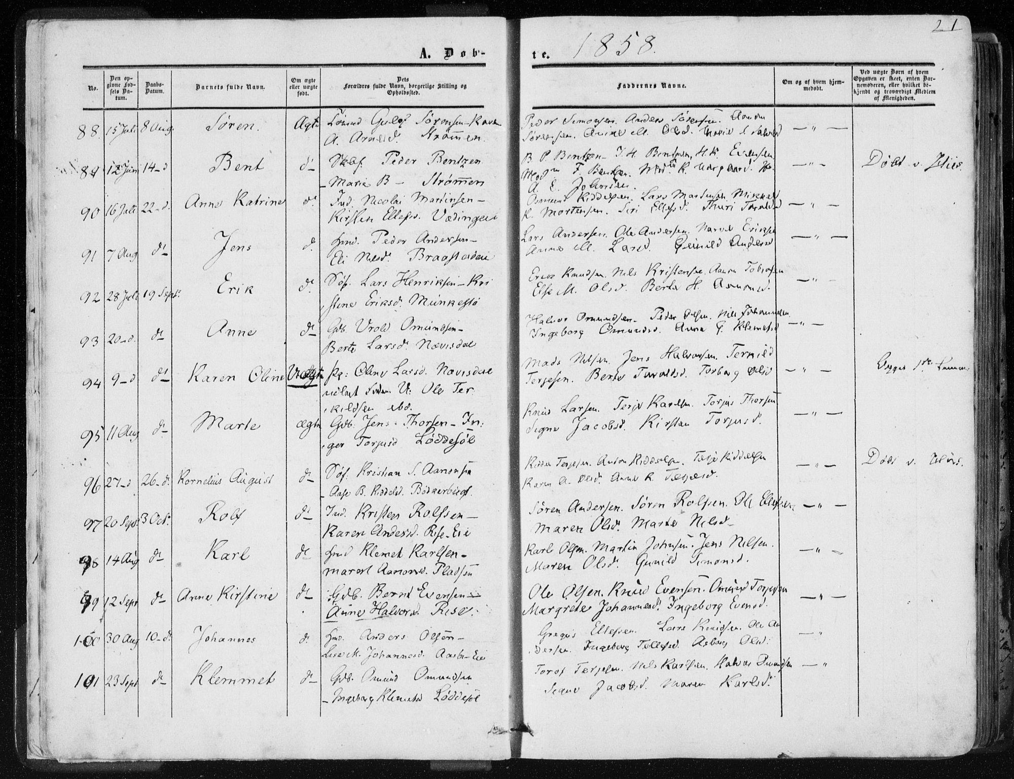 SAK, Øyestad sokneprestkontor, F/Fa/L0015: Ministerialbok nr. A 15, 1857-1873, s. 21