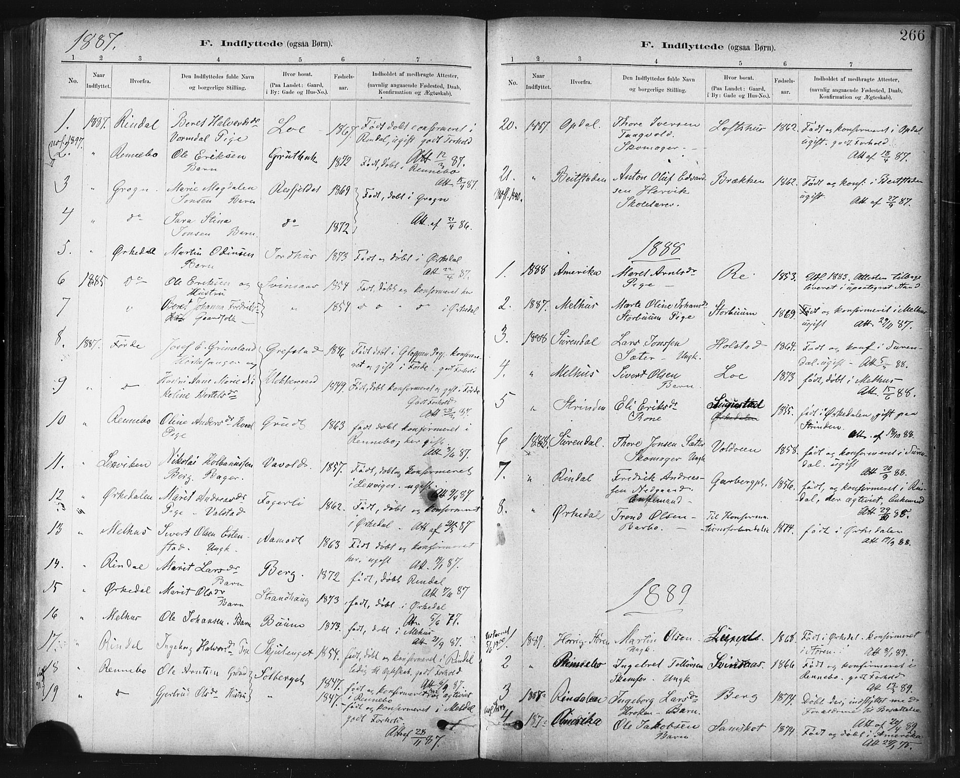 SAT, Ministerialprotokoller, klokkerbøker og fødselsregistre - Sør-Trøndelag, 672/L0857: Ministerialbok nr. 672A09, 1882-1893, s. 266