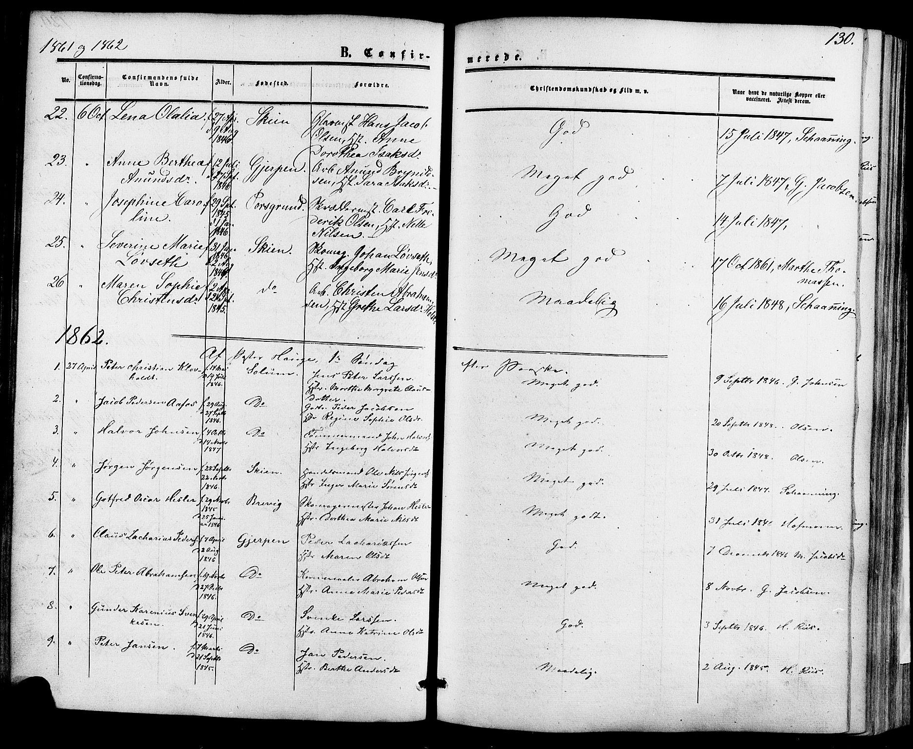 SAKO, Skien kirkebøker, F/Fa/L0007: Ministerialbok nr. 7, 1856-1865, s. 130