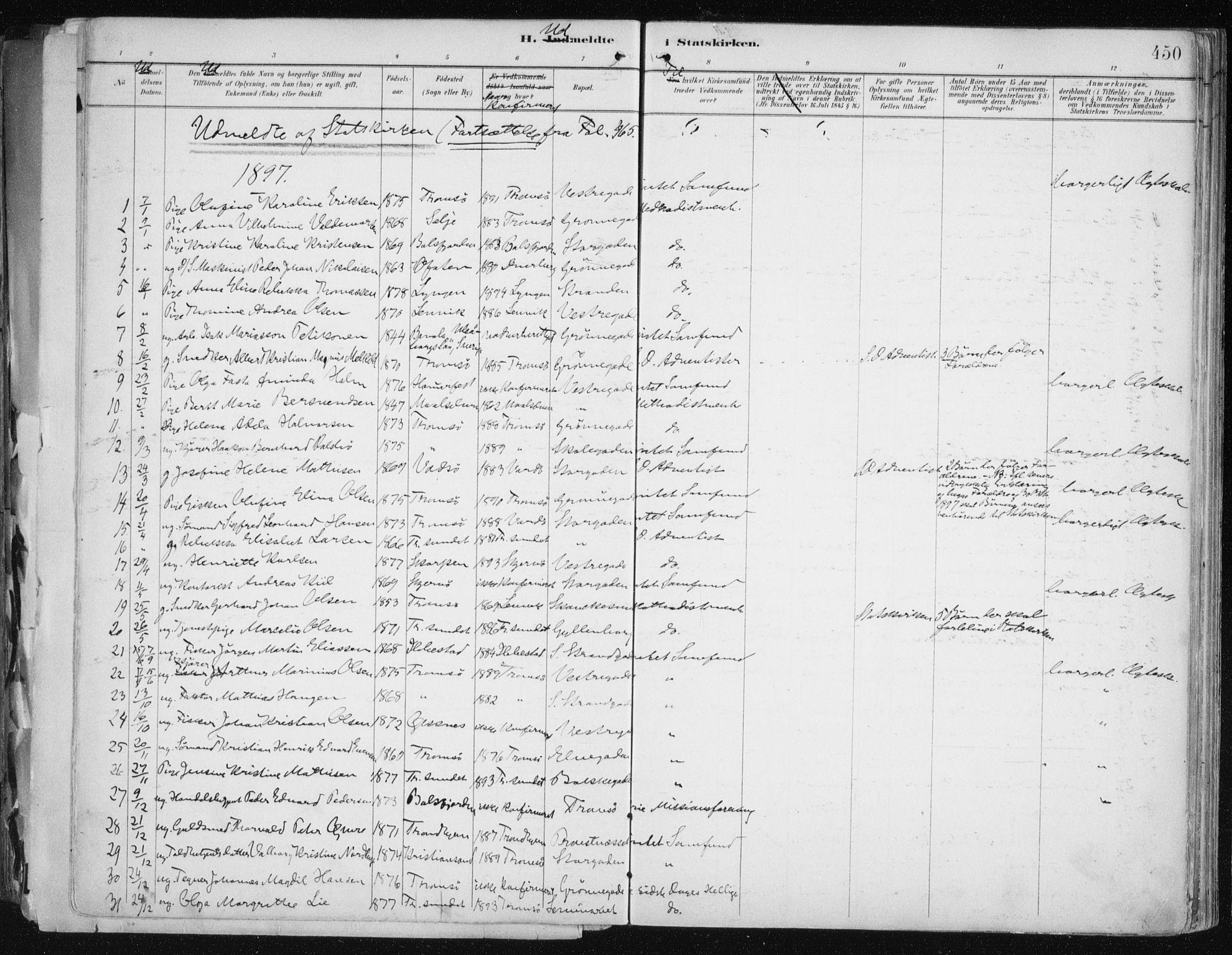 SATØ, Tromsø sokneprestkontor/stiftsprosti/domprosti, G/Ga/L0015kirke: Ministerialbok nr. 15, 1889-1899, s. 450