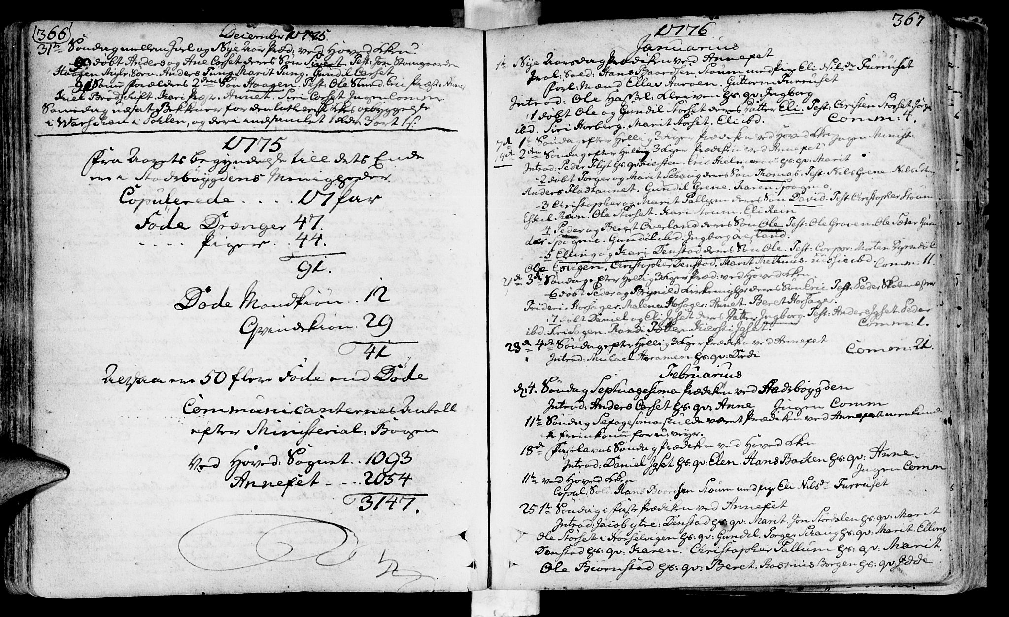 SAT, Ministerialprotokoller, klokkerbøker og fødselsregistre - Sør-Trøndelag, 646/L0605: Ministerialbok nr. 646A03, 1751-1790, s. 366-367