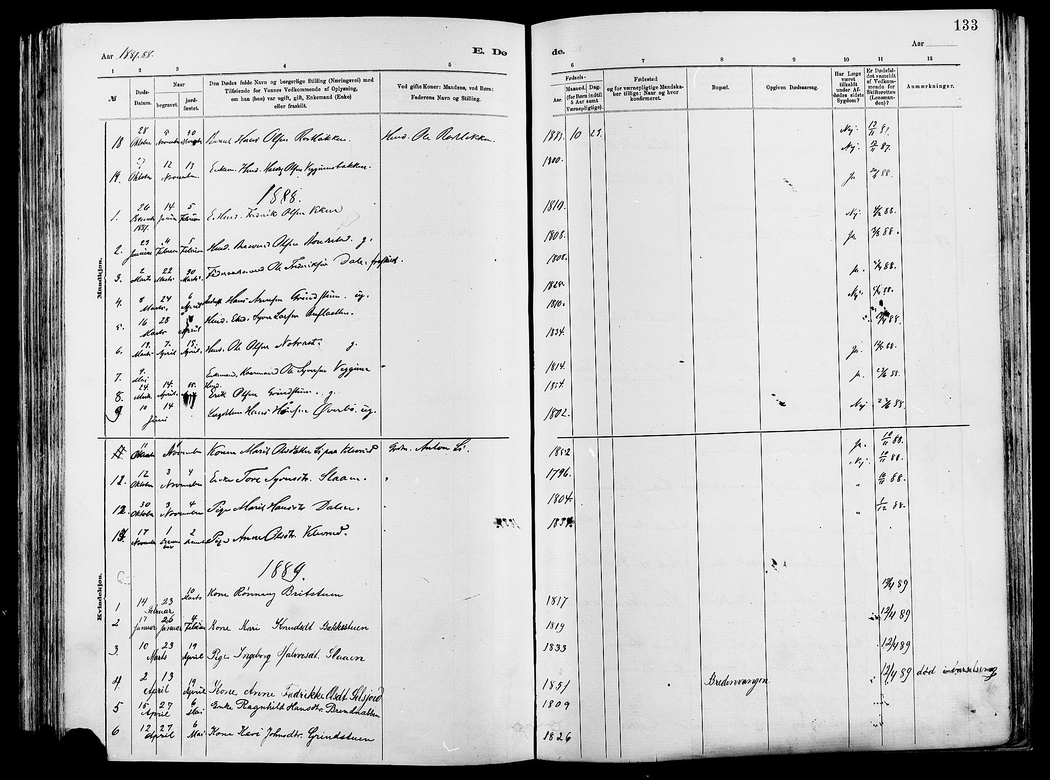 SAH, Vågå prestekontor, Ministerialbok nr. 8, 1886-1904, s. 133