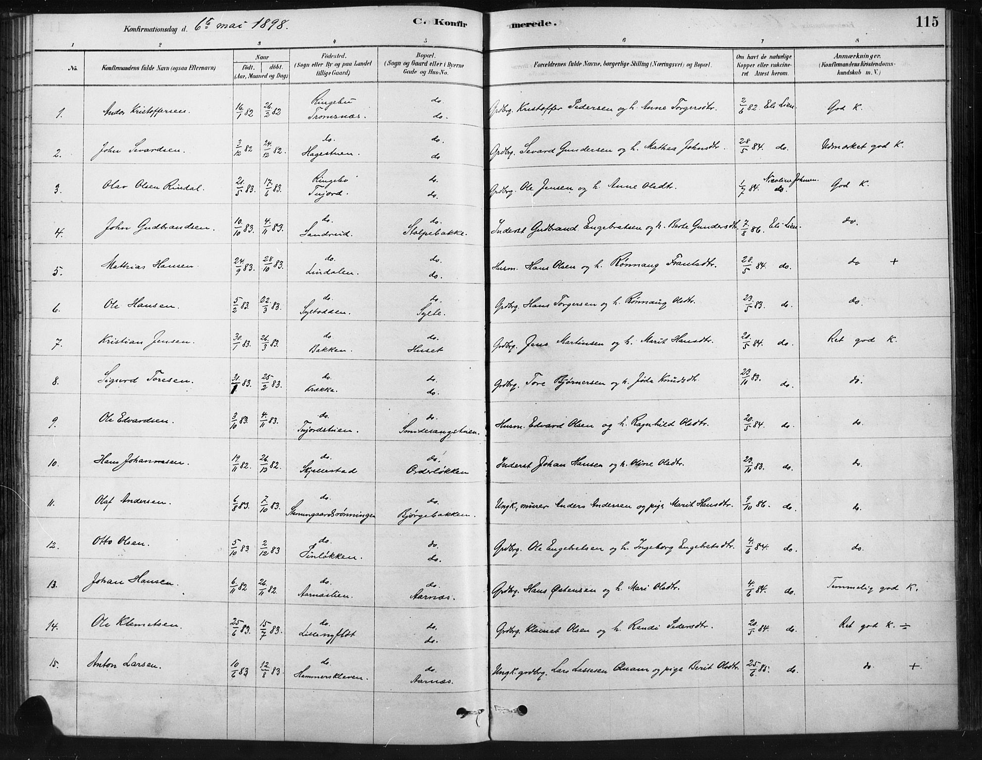 SAH, Ringebu prestekontor, Ministerialbok nr. 9, 1878-1898, s. 115