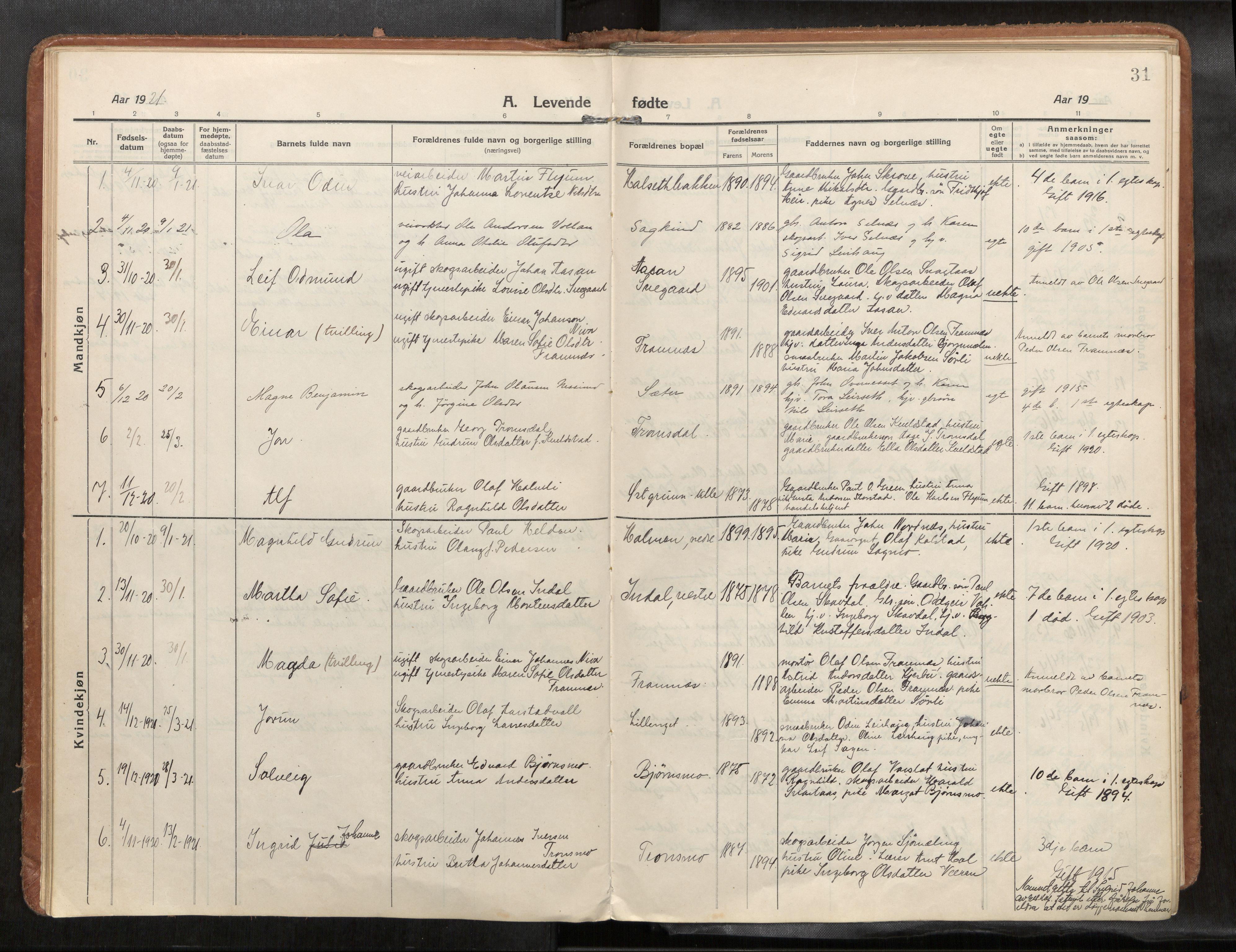 SAT, Verdal sokneprestkontor*, Ministerialbok nr. 1, 1916-1928, s. 31