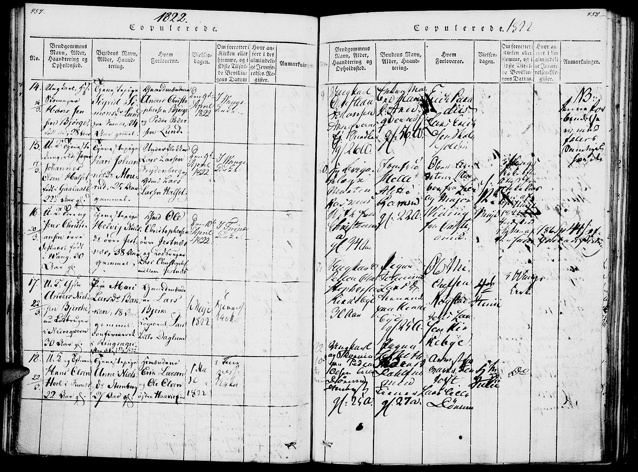 SAH, Vang prestekontor, Hedmark, H/Ha/Haa/L0007: Ministerialbok nr. 7, 1813-1826, s. 457-458
