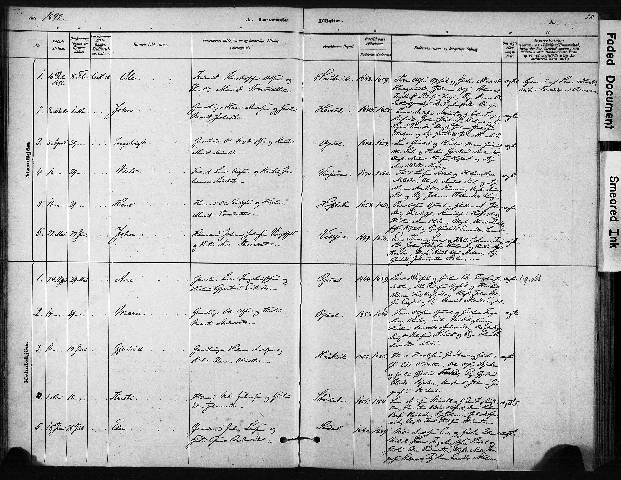 SAT, Ministerialprotokoller, klokkerbøker og fødselsregistre - Sør-Trøndelag, 631/L0512: Ministerialbok nr. 631A01, 1879-1912, s. 28