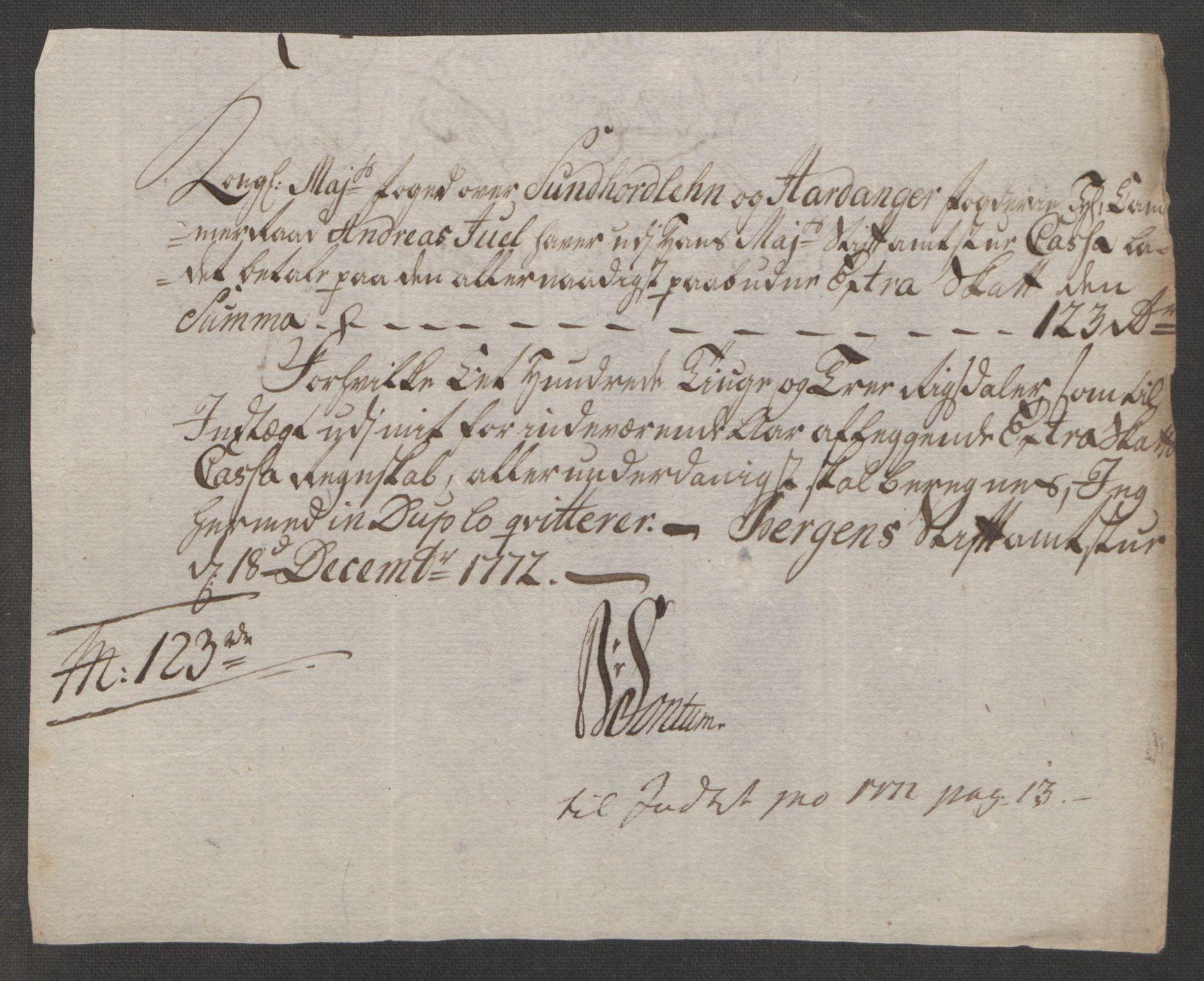 RA, Rentekammeret inntil 1814, Reviderte regnskaper, Fogderegnskap, R48/L3136: Ekstraskatten Sunnhordland og Hardanger, 1762-1772, s. 275