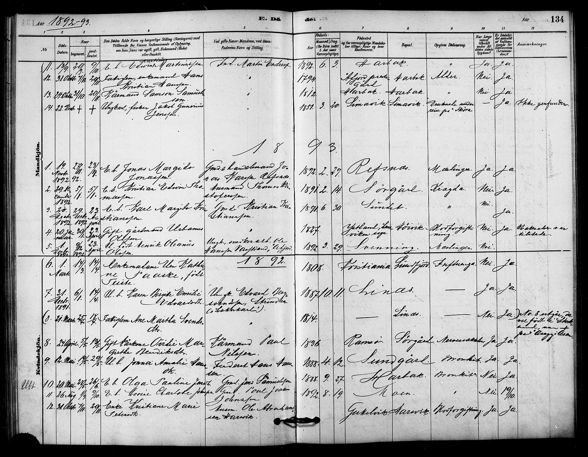 SAT, Ministerialprotokoller, klokkerbøker og fødselsregistre - Sør-Trøndelag, 656/L0692: Ministerialbok nr. 656A01, 1879-1893, s. 134
