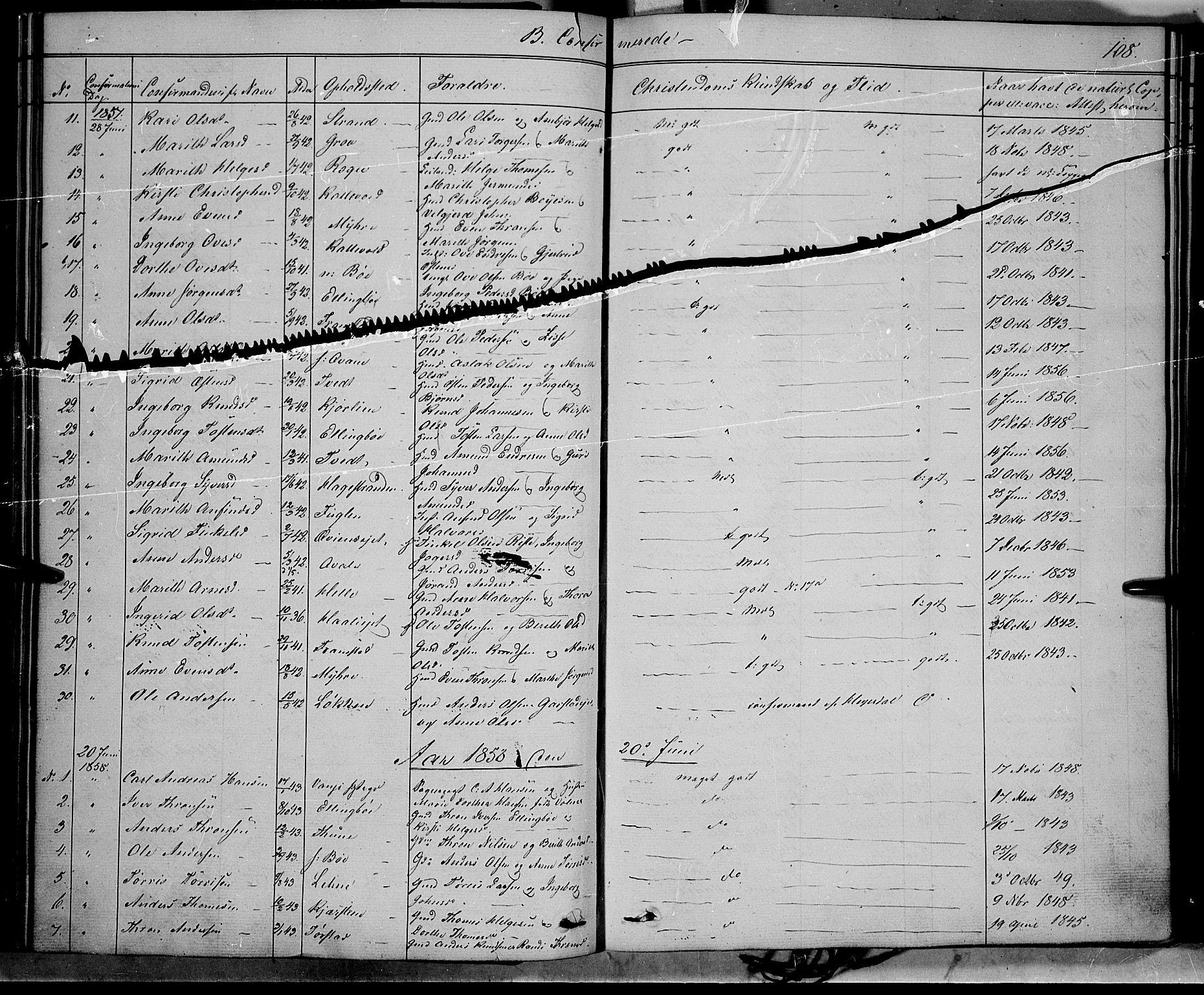 SAH, Vang prestekontor, Valdres, Ministerialbok nr. 6, 1846-1864, s. 108