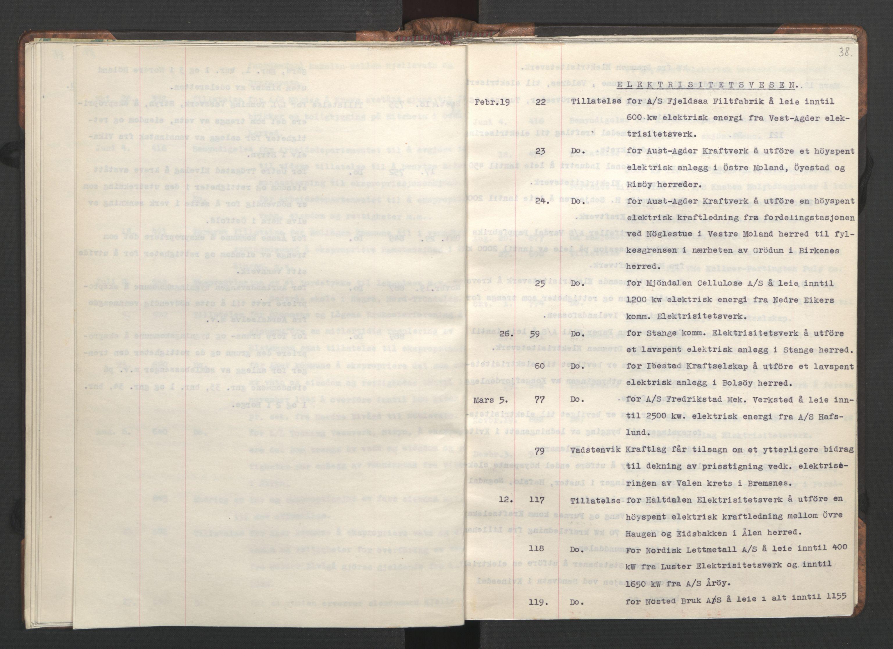 RA, NS-administrasjonen 1940-1945 (Statsrådsekretariatet, de kommisariske statsråder mm), D/Da/L0002: Register (RA j.nr. 985/1943, tilgangsnr. 17/1943), 1942, s. 37b-38a