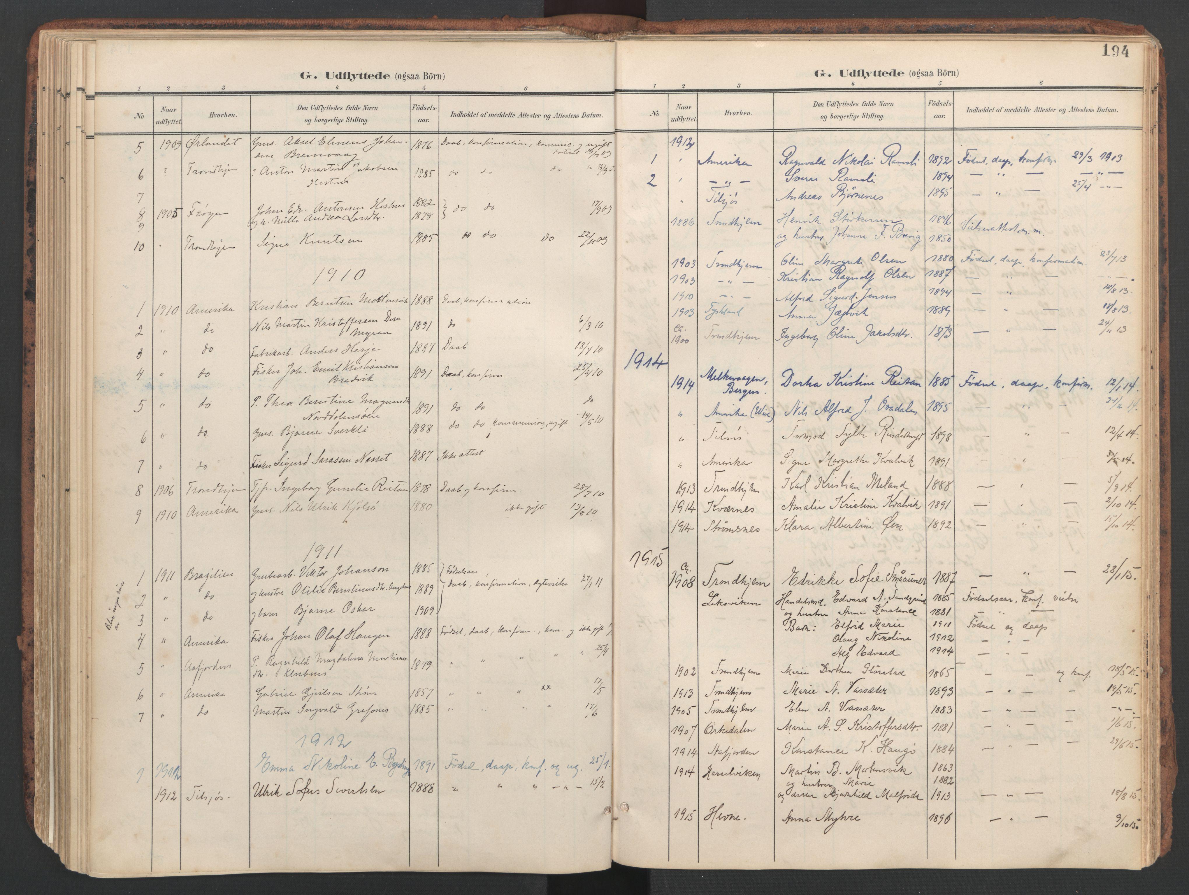 SAT, Ministerialprotokoller, klokkerbøker og fødselsregistre - Sør-Trøndelag, 634/L0537: Ministerialbok nr. 634A13, 1896-1922, s. 194