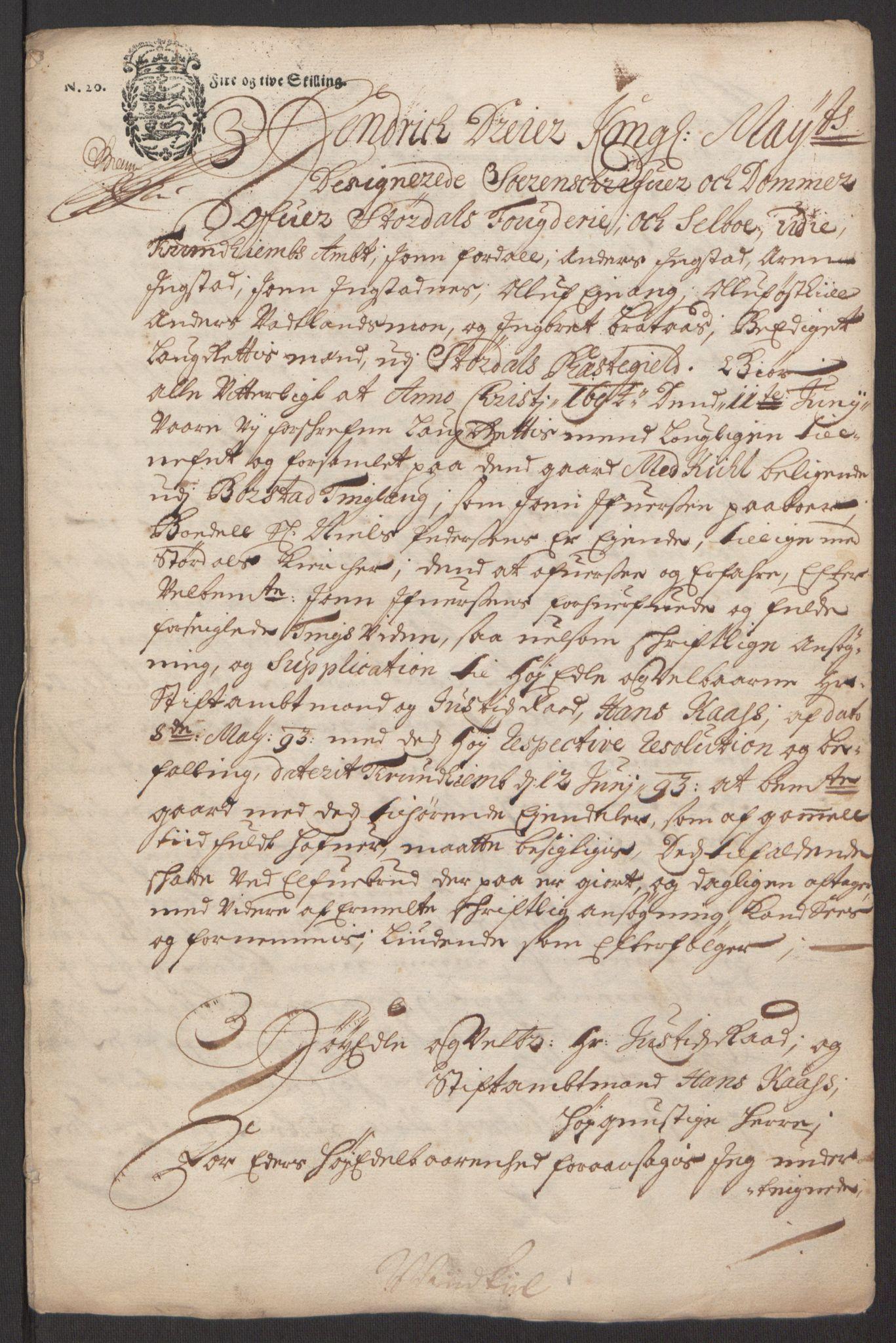 RA, Rentekammeret inntil 1814, Reviderte regnskaper, Fogderegnskap, R62/L4187: Fogderegnskap Stjørdal og Verdal, 1695, s. 144