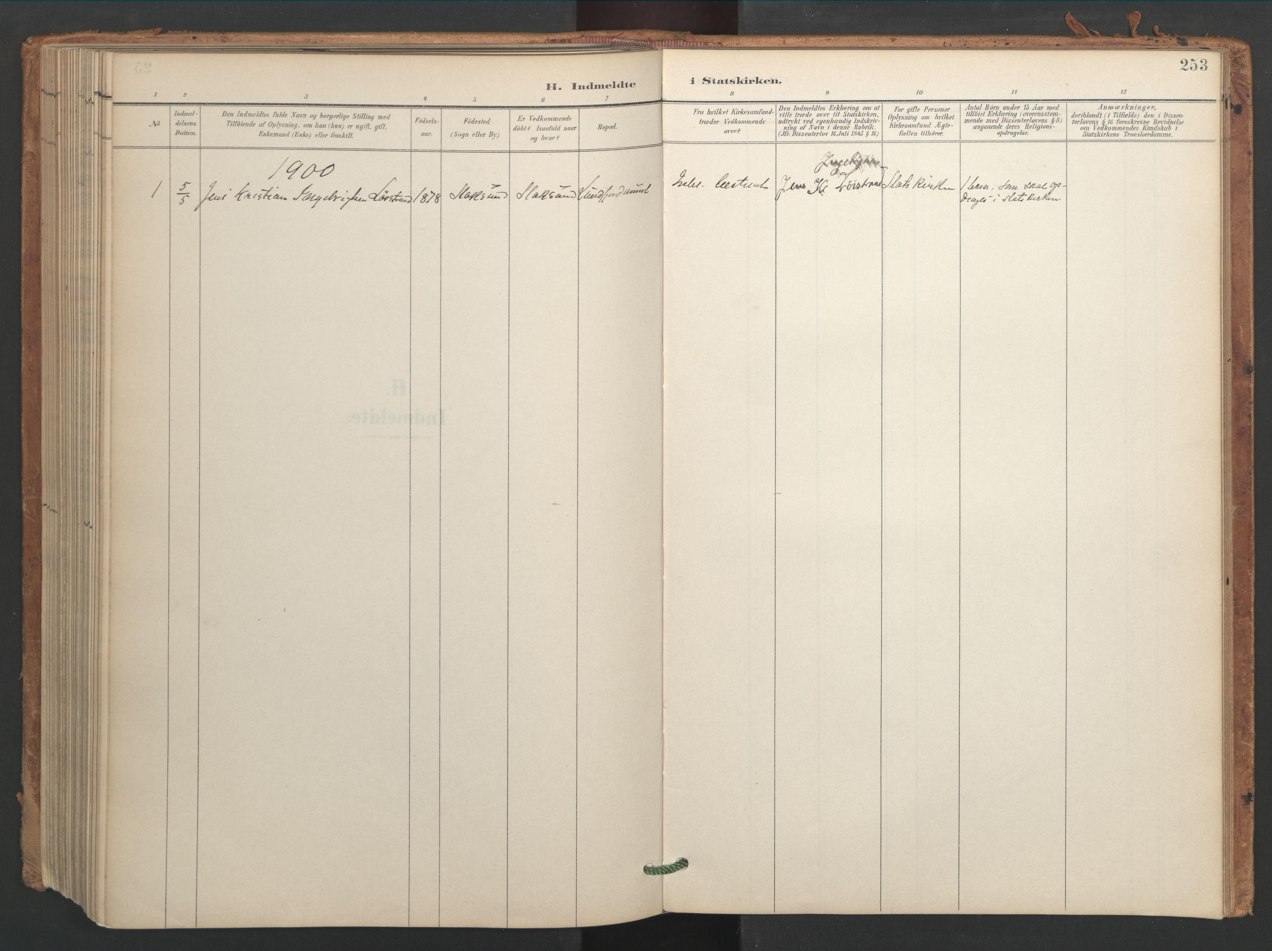 SAT, Ministerialprotokoller, klokkerbøker og fødselsregistre - Sør-Trøndelag, 656/L0693: Ministerialbok nr. 656A02, 1894-1913, s. 253