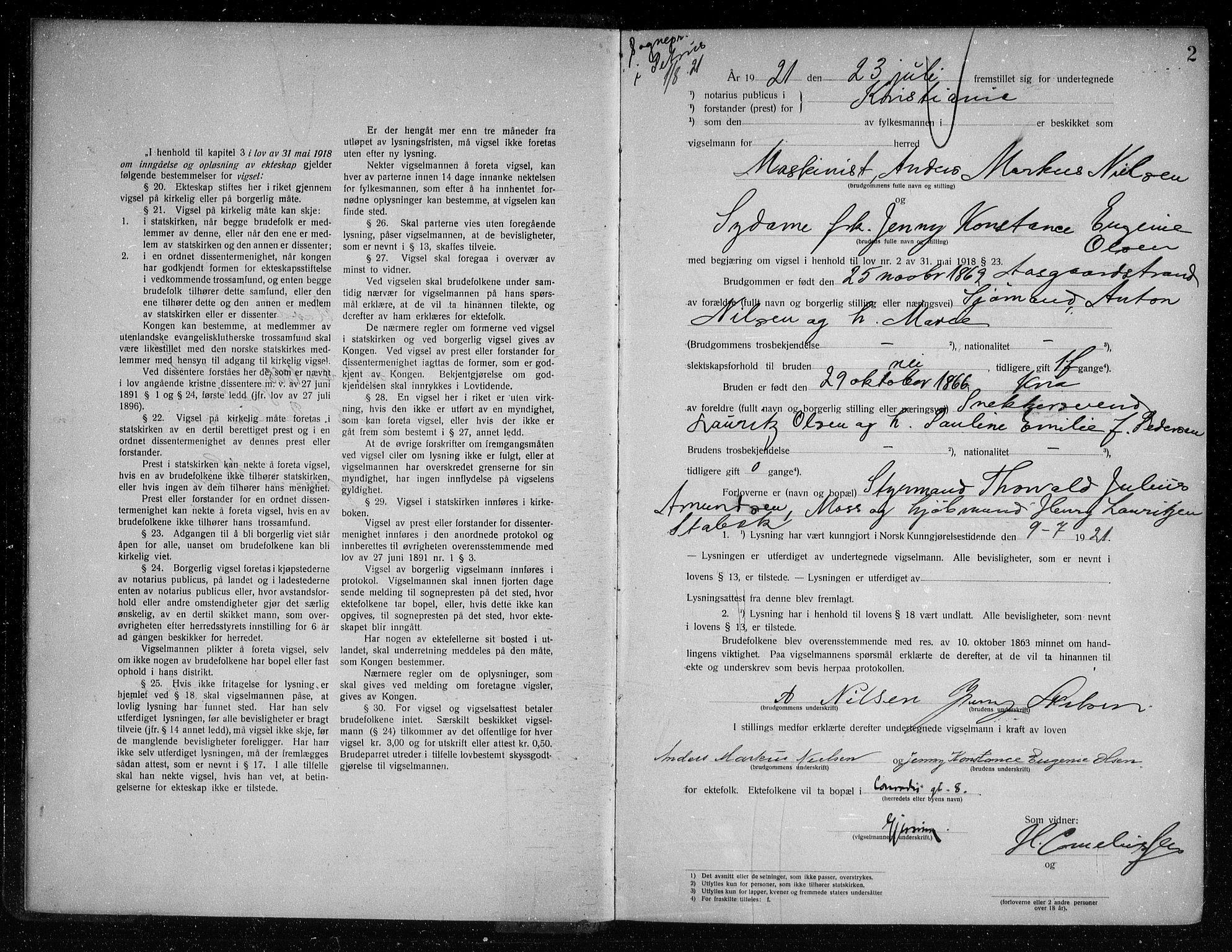 SAO, Oslo byfogd avd. I, L/Lb/Lbb/L0015: Notarialprotokoll, rekke II: Vigsler, 1921-1922, s. 1b-2a