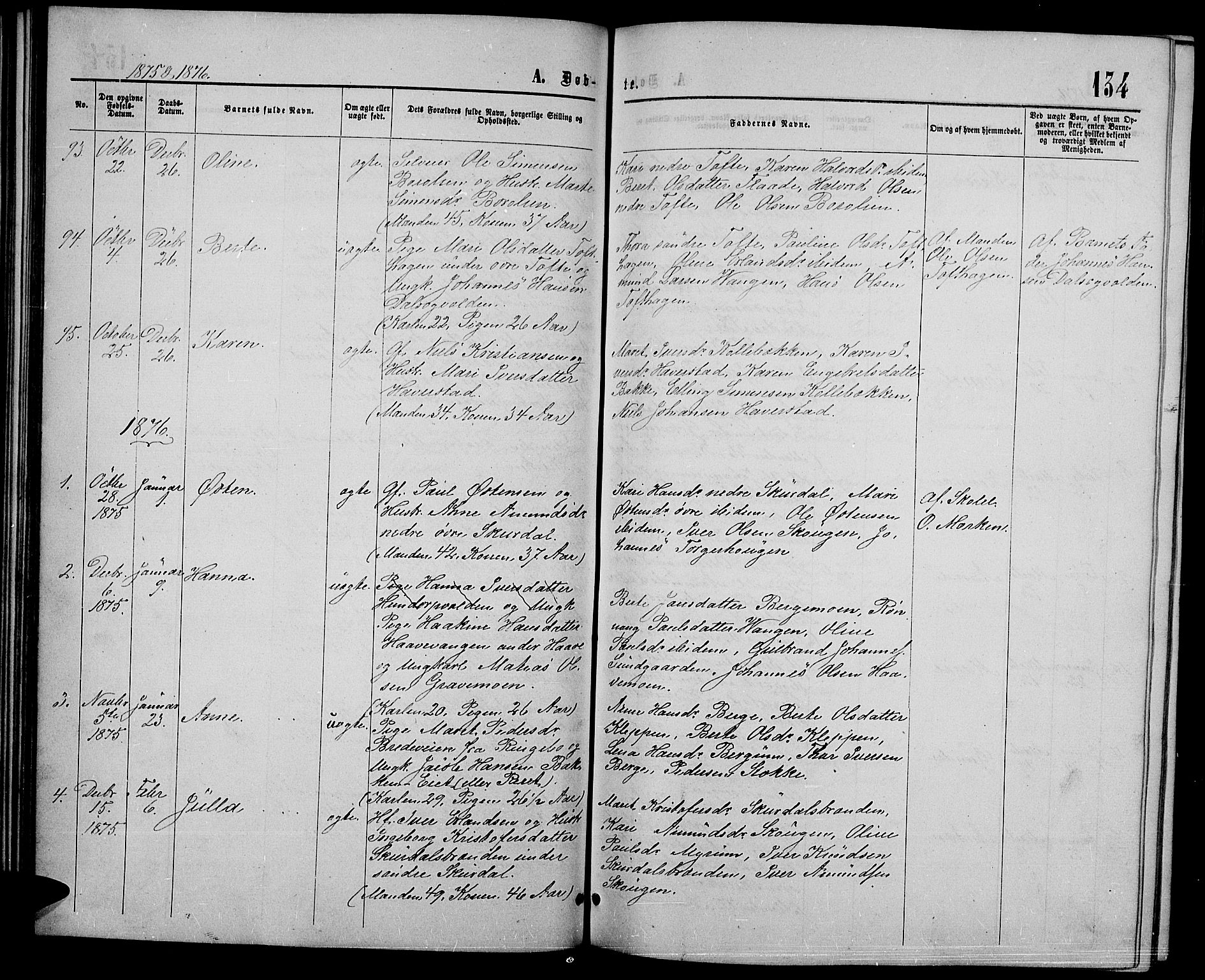 SAH, Sør-Fron prestekontor, H/Ha/Hab/L0002: Klokkerbok nr. 2, 1864-1883, s. 134