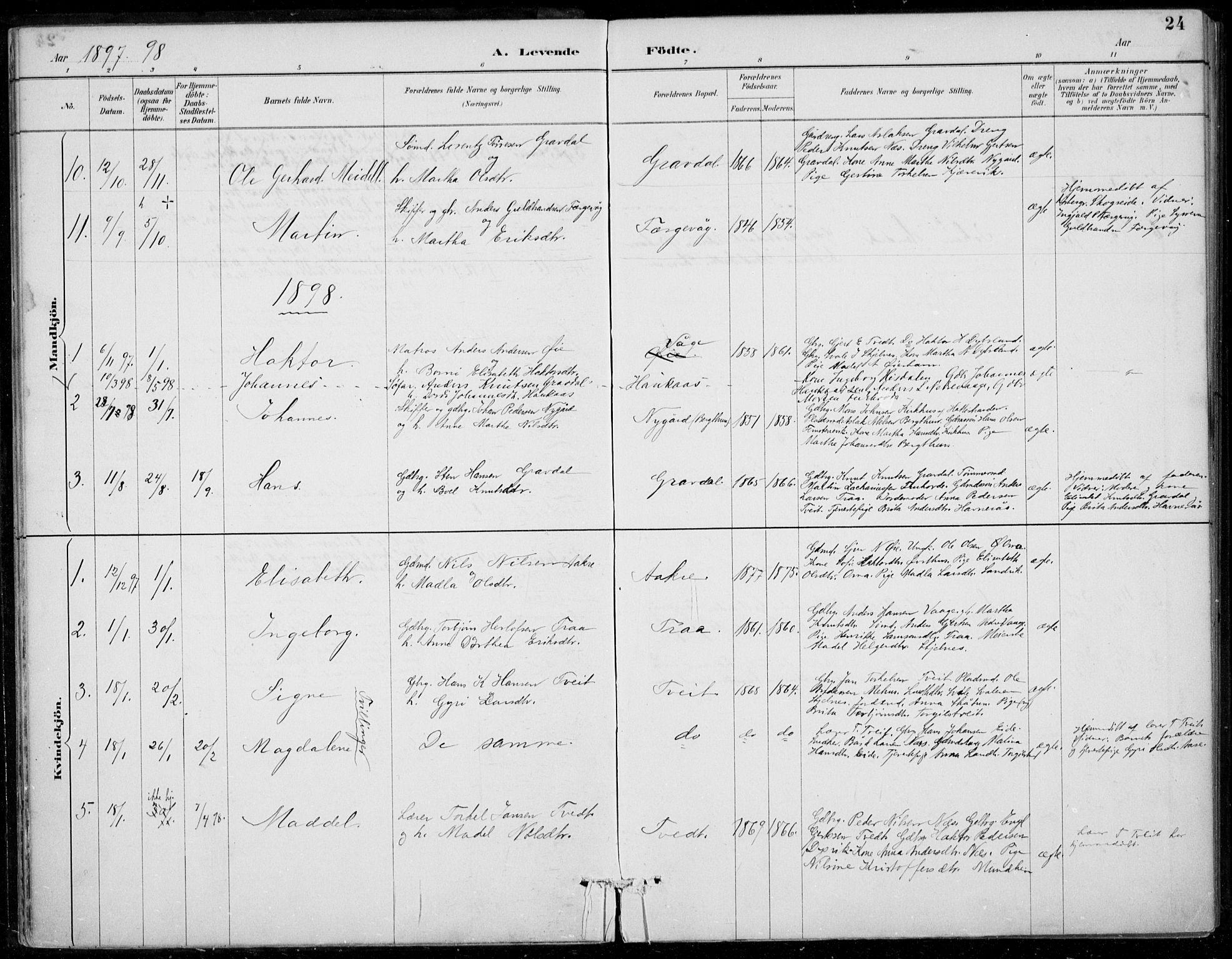 SAB, Strandebarm sokneprestembete, H/Haa: Ministerialbok nr. D  1, 1886-1912, s. 24