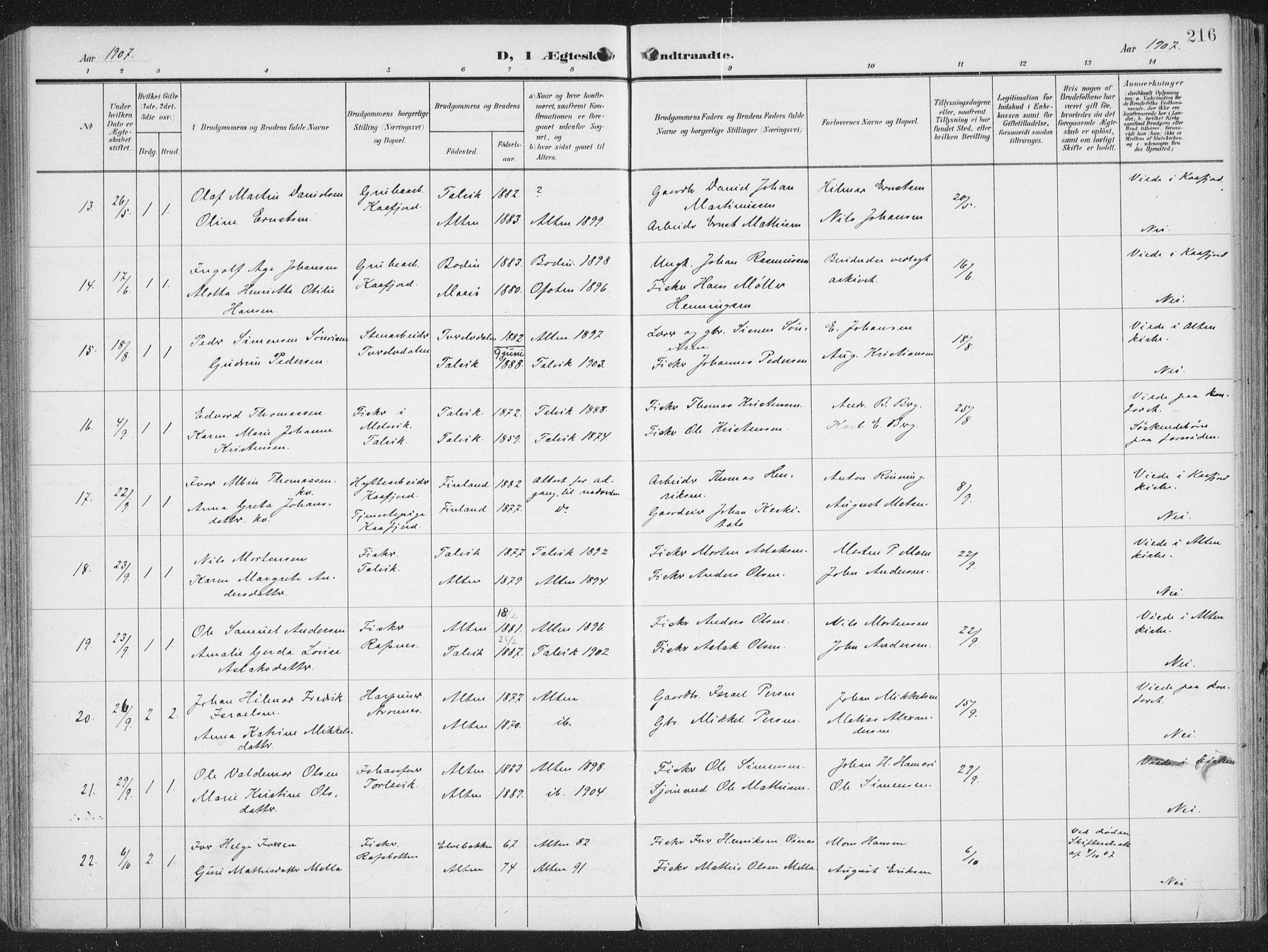 SATØ, Alta sokneprestembete, Ministerialbok nr. 5, 1904-1918, s. 216
