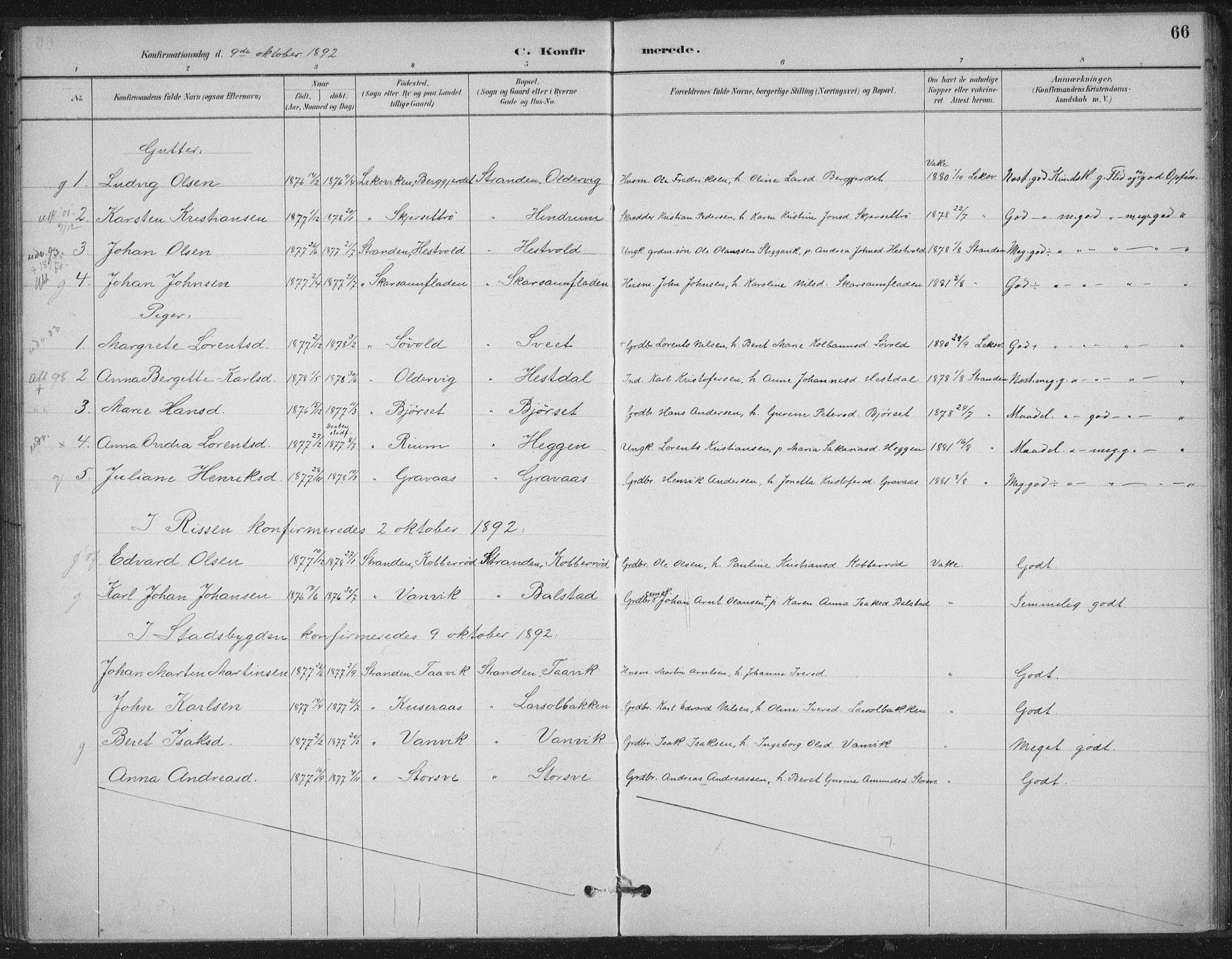SAT, Ministerialprotokoller, klokkerbøker og fødselsregistre - Nord-Trøndelag, 702/L0023: Ministerialbok nr. 702A01, 1883-1897, s. 66