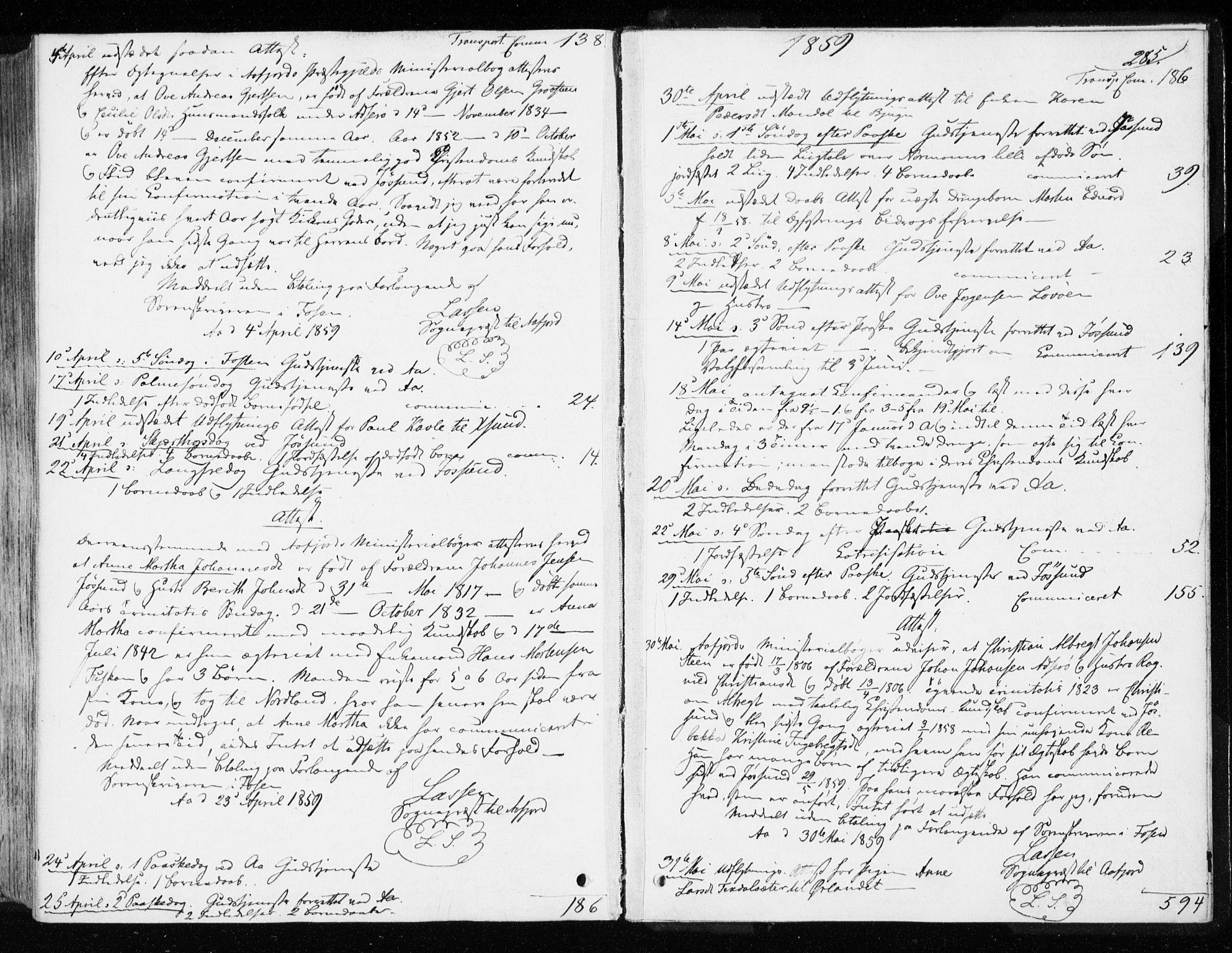 SAT, Ministerialprotokoller, klokkerbøker og fødselsregistre - Sør-Trøndelag, 655/L0677: Ministerialbok nr. 655A06, 1847-1860, s. 285