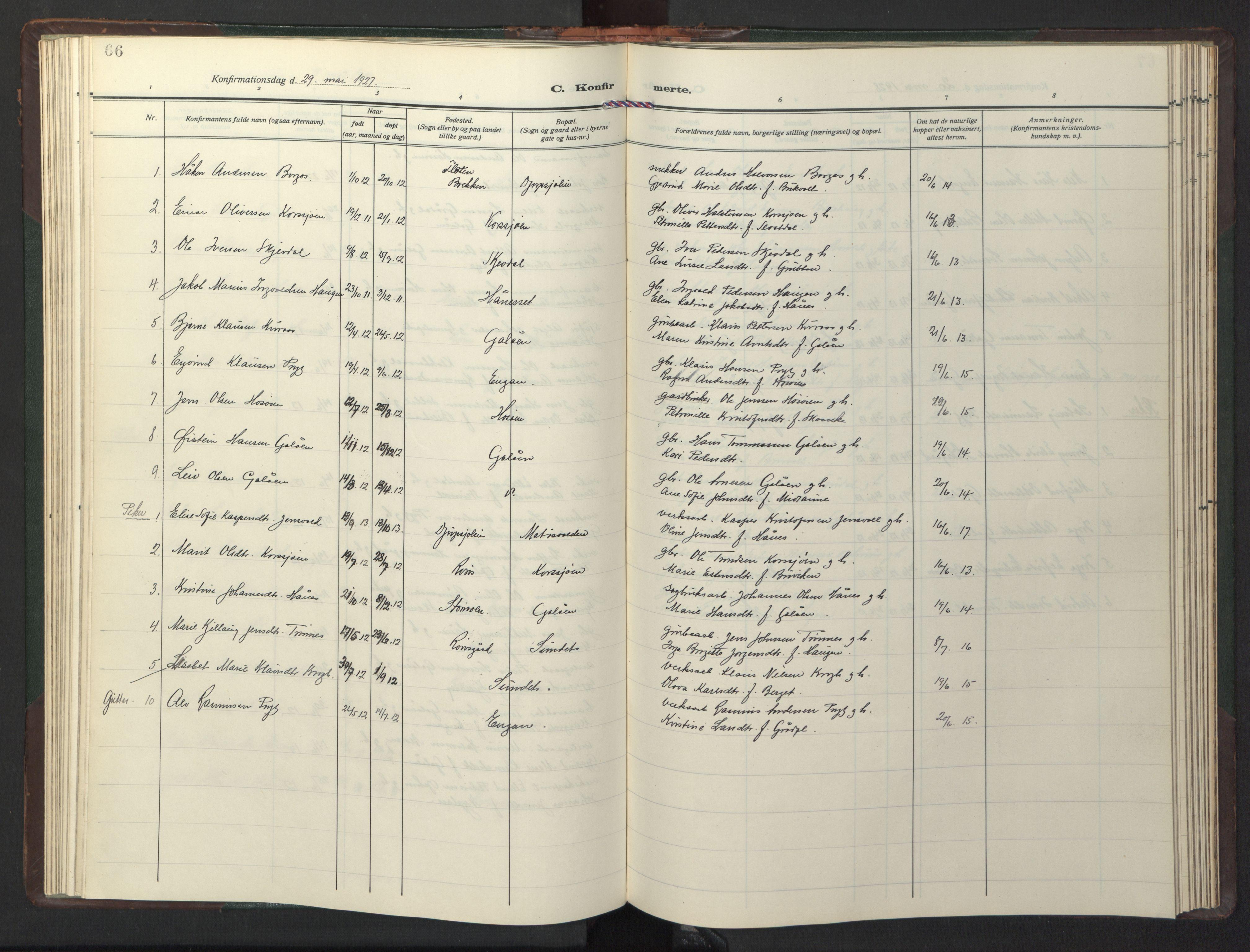 SAT, Ministerialprotokoller, klokkerbøker og fødselsregistre - Sør-Trøndelag, 681/L0944: Klokkerbok nr. 681C08, 1926-1954, s. 66