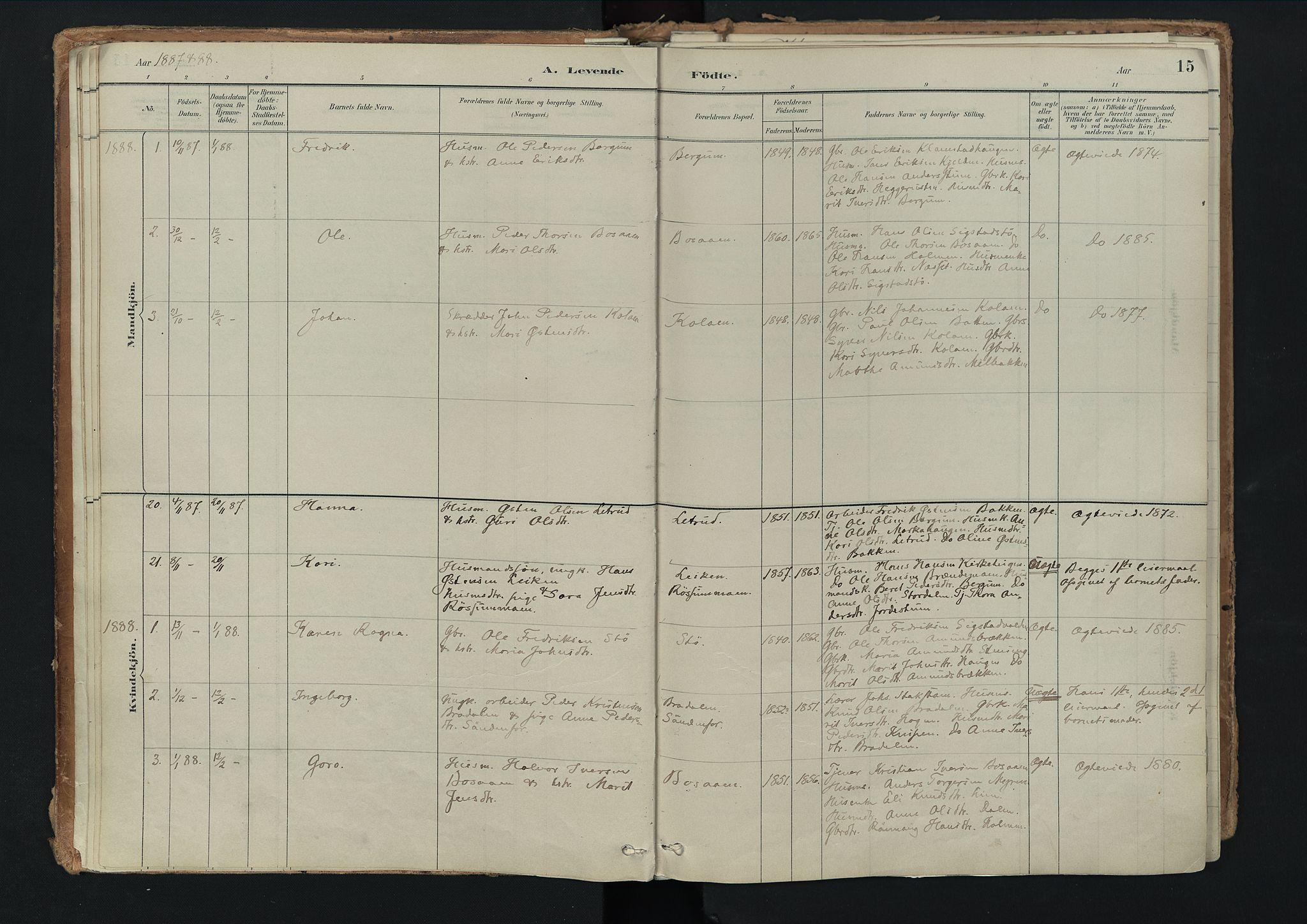 SAH, Nord-Fron prestekontor, Ministerialbok nr. 3, 1884-1914, s. 15
