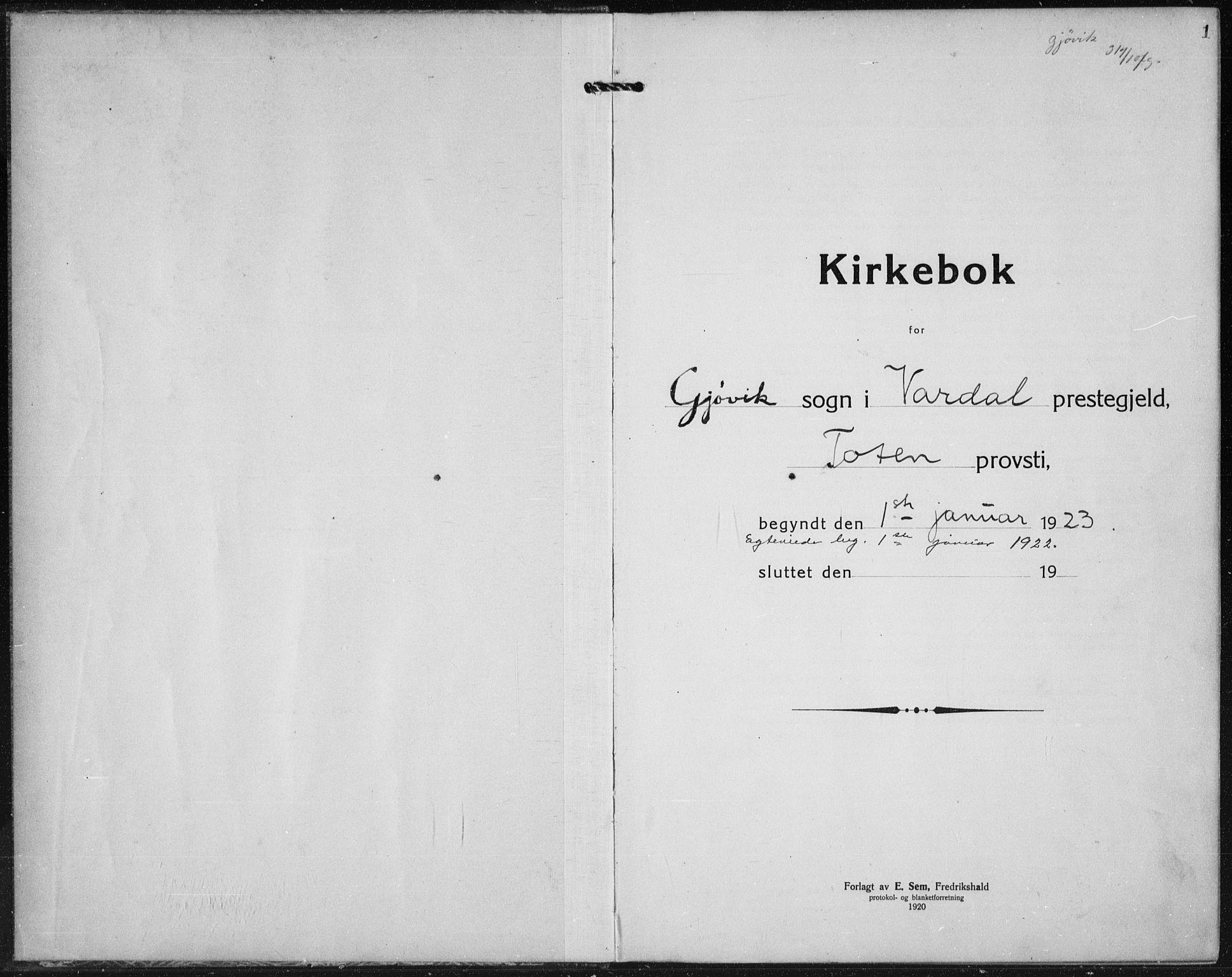 SAH, Vardal prestekontor, H/Ha/Hab/L0017: Klokkerbok nr. 17, 1922-1941, s. 1