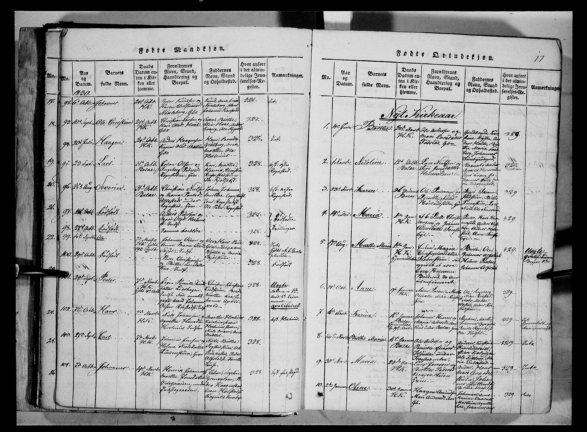 SAH, Østre Toten prestekontor, Ministerialbok nr. 1, 1828-1839, s. 17