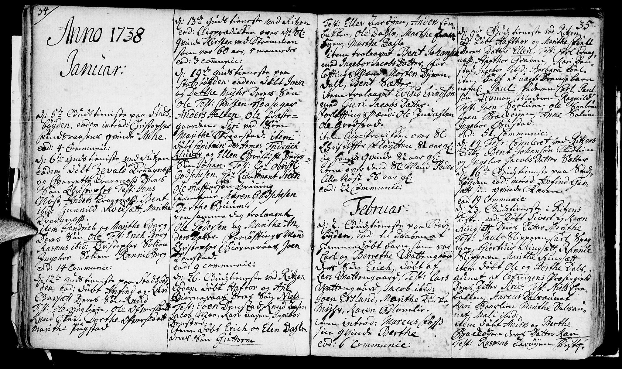 SAT, Ministerialprotokoller, klokkerbøker og fødselsregistre - Sør-Trøndelag, 646/L0604: Ministerialbok nr. 646A02, 1735-1750, s. 34-35