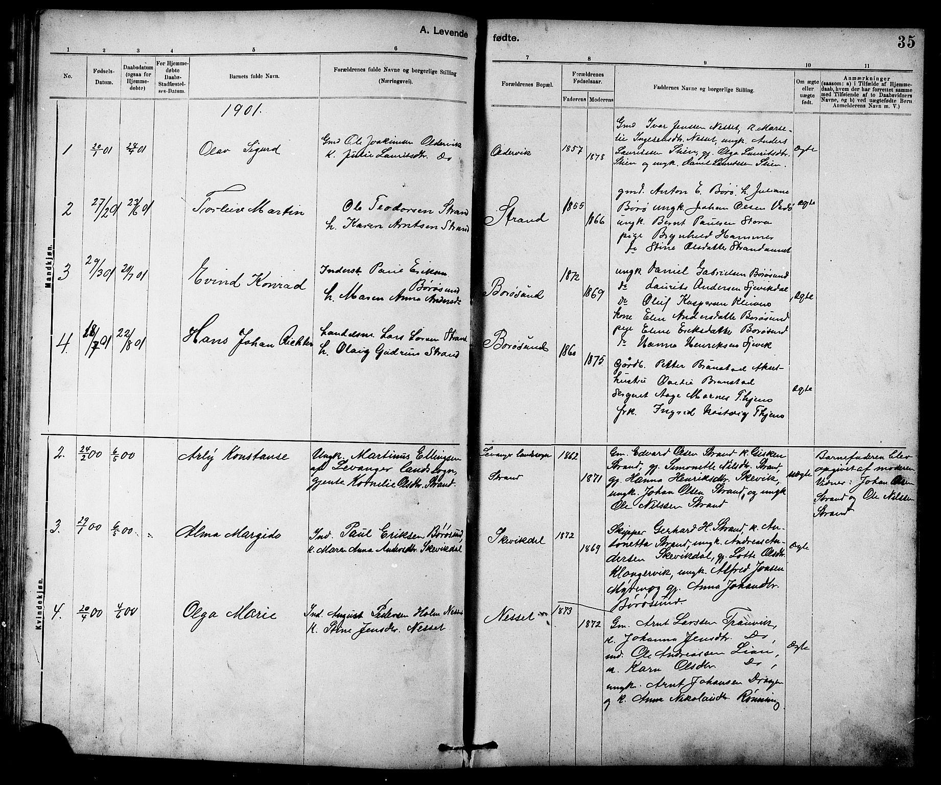 SAT, Ministerialprotokoller, klokkerbøker og fødselsregistre - Sør-Trøndelag, 639/L0573: Klokkerbok nr. 639C01, 1890-1905, s. 35