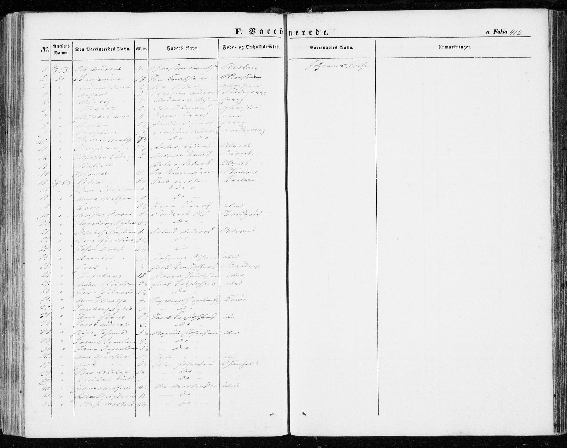 SAT, Ministerialprotokoller, klokkerbøker og fødselsregistre - Sør-Trøndelag, 634/L0530: Ministerialbok nr. 634A06, 1852-1860, s. 412
