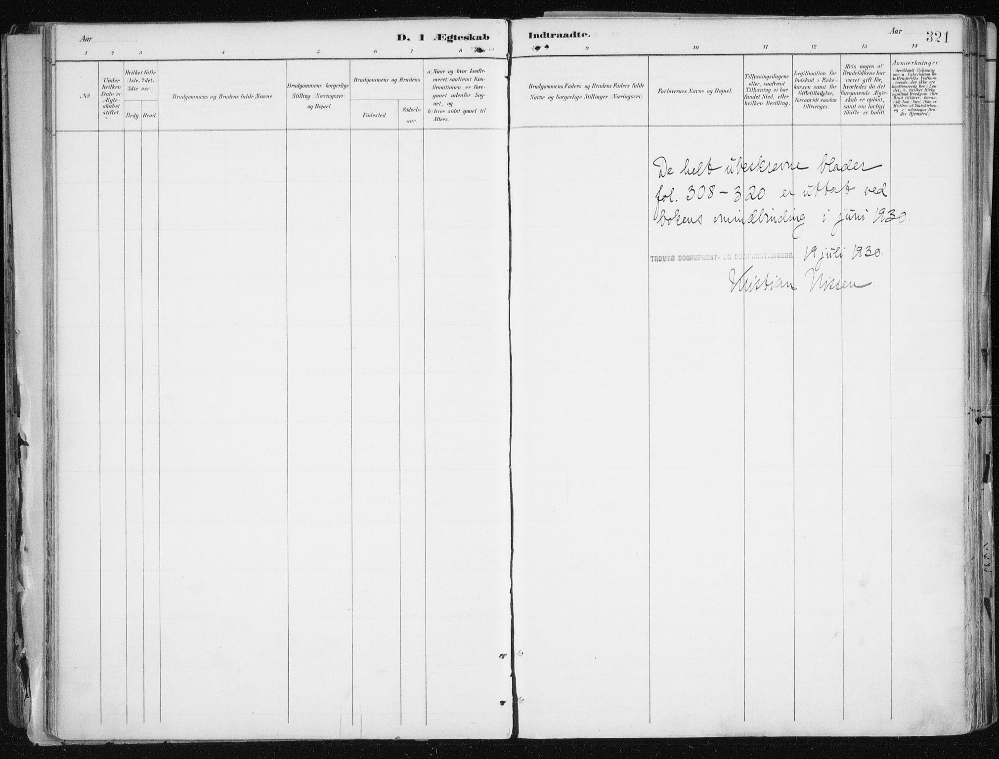 SATØ, Tromsø sokneprestkontor/stiftsprosti/domprosti, G/Ga/L0015kirke: Ministerialbok nr. 15, 1889-1899, s. 321