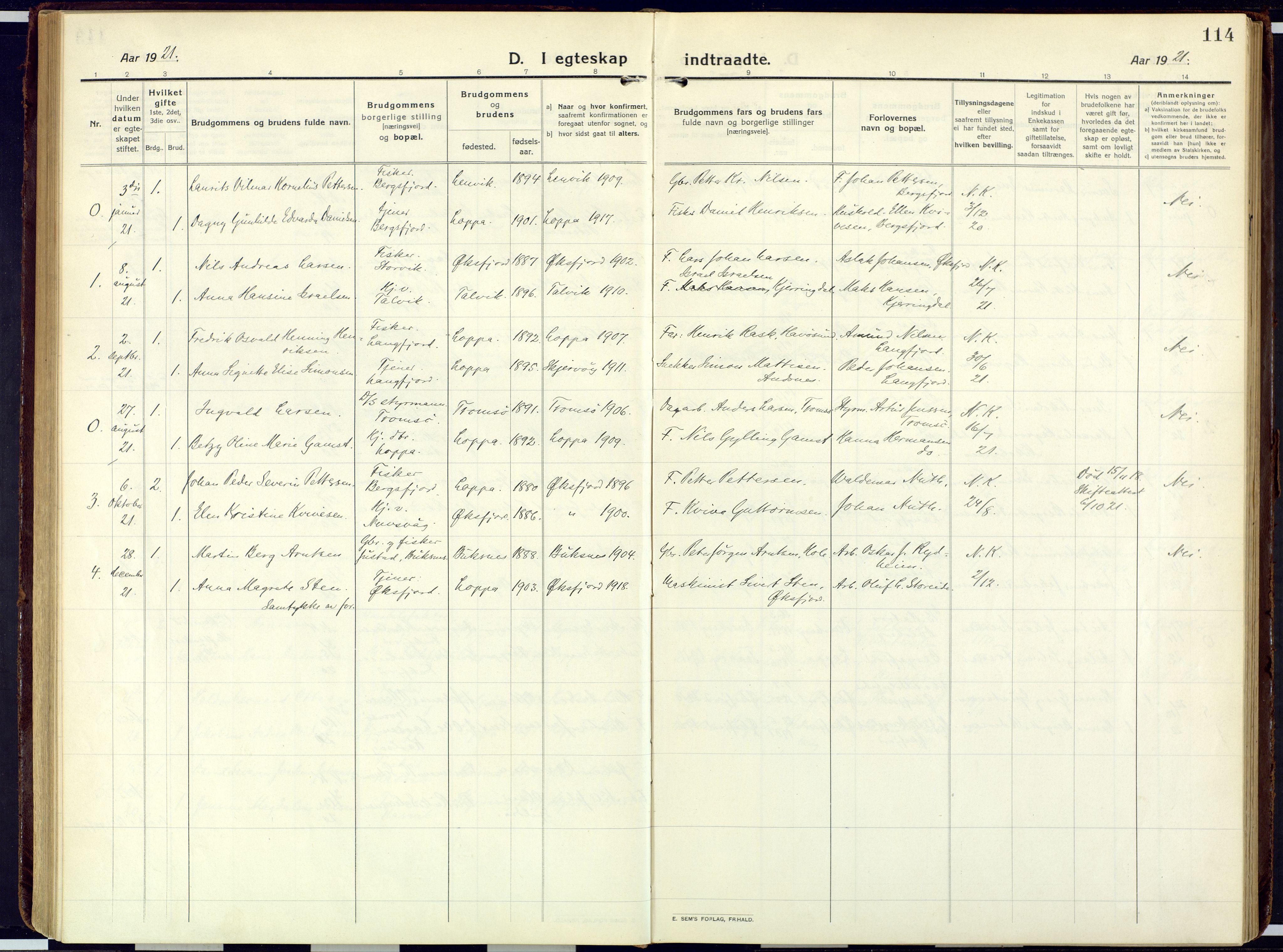 SATØ, Loppa sokneprestkontor, H/Ha/L0013kirke: Ministerialbok nr. 13, 1920-1932, s. 114
