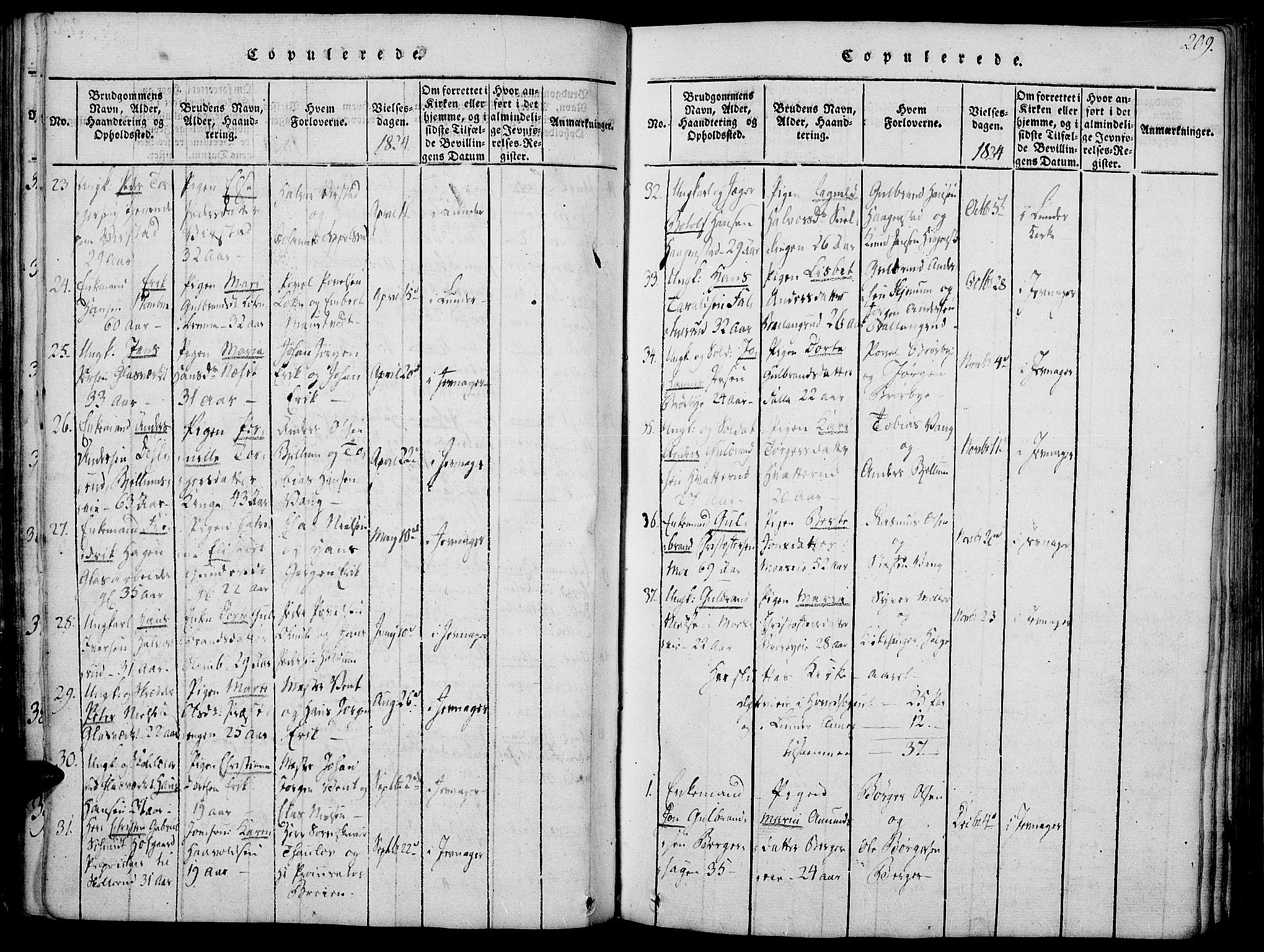 SAH, Jevnaker prestekontor, Ministerialbok nr. 5, 1815-1837, s. 209