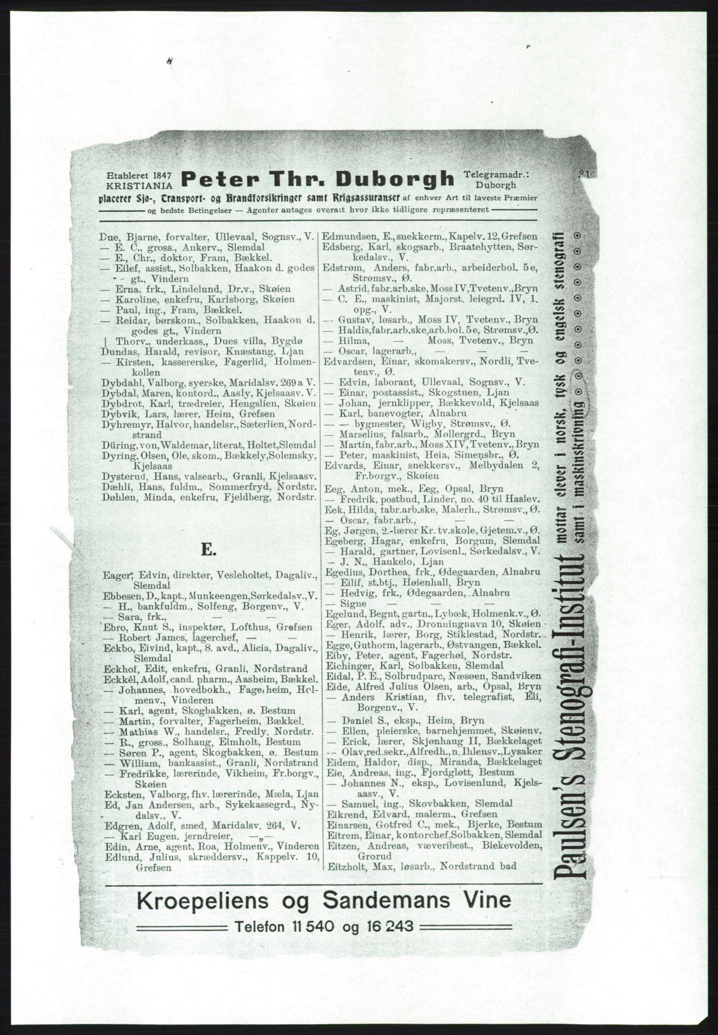 RA, Aker adressebok/adressekalender (publikasjon)*, 1916-1917, s. 31