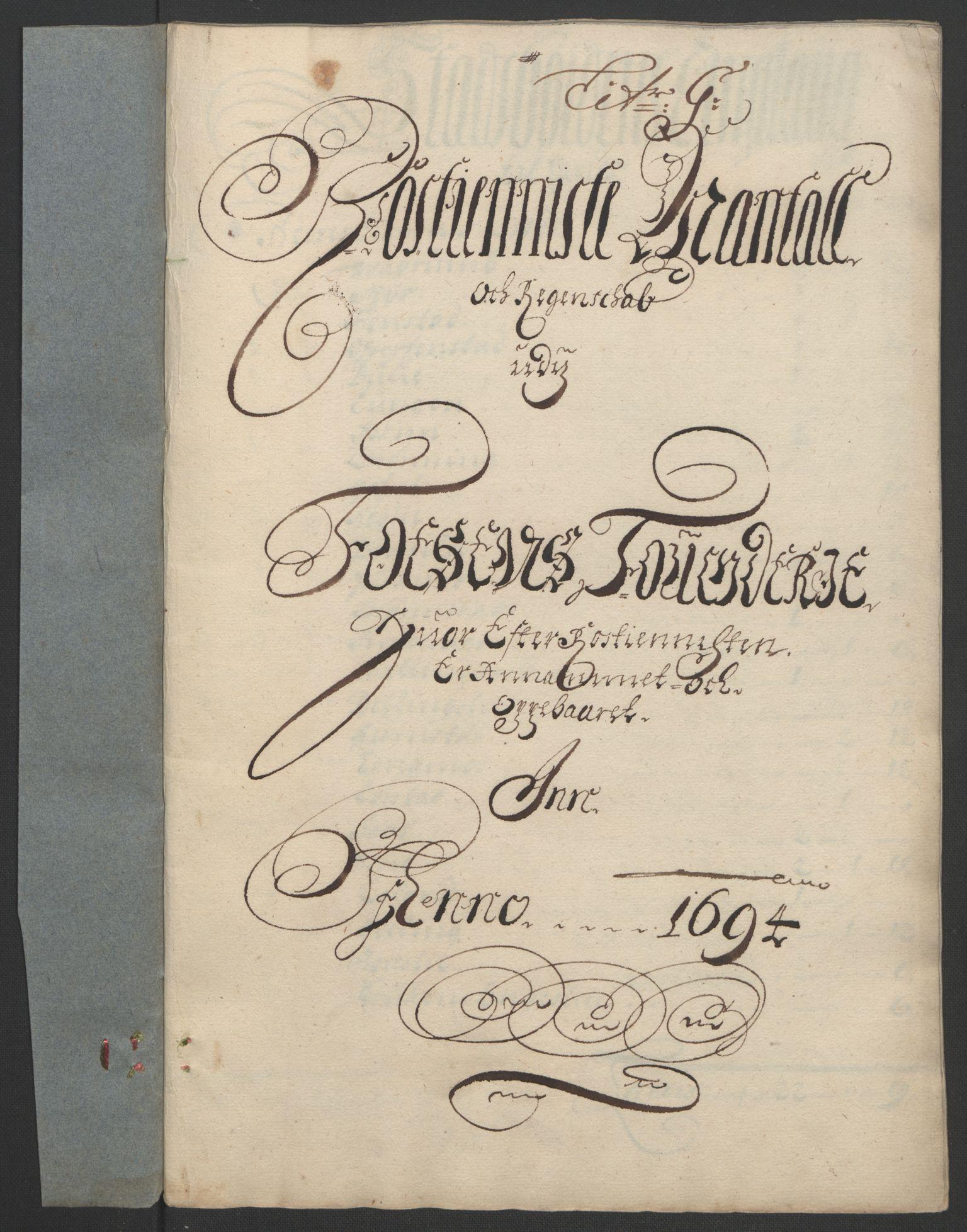 RA, Rentekammeret inntil 1814, Reviderte regnskaper, Fogderegnskap, R57/L3850: Fogderegnskap Fosen, 1694, s. 108