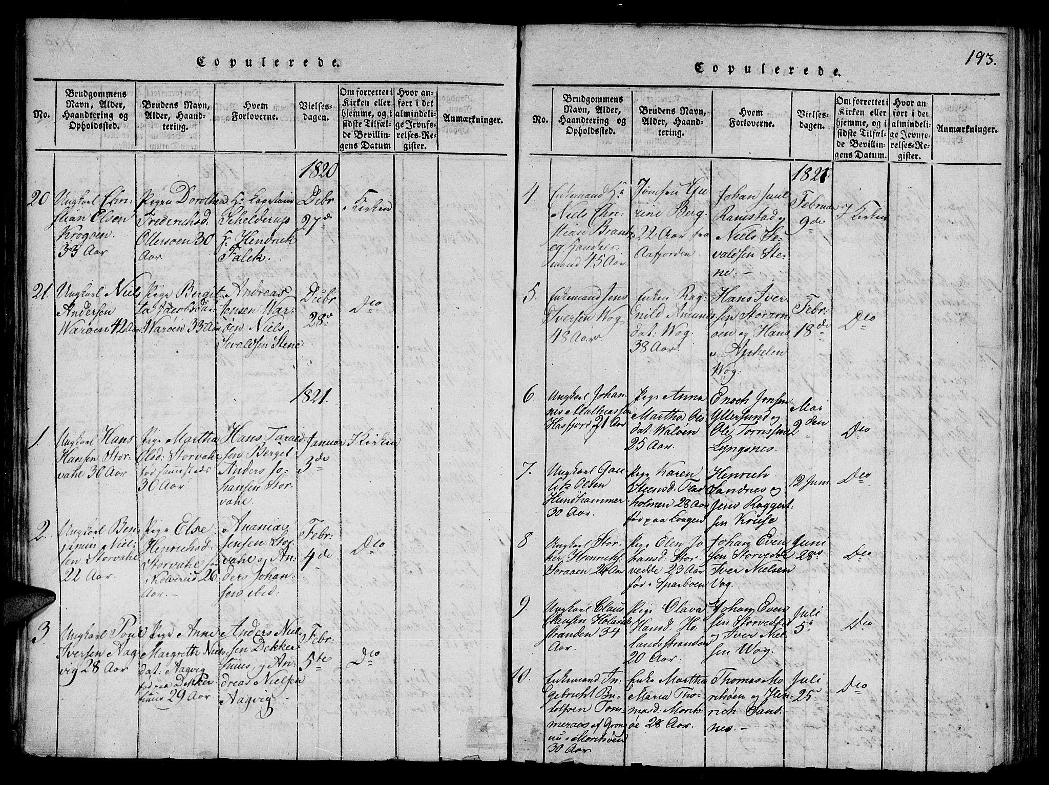 SAT, Ministerialprotokoller, klokkerbøker og fødselsregistre - Nord-Trøndelag, 784/L0667: Ministerialbok nr. 784A03 /1, 1816-1829, s. 193