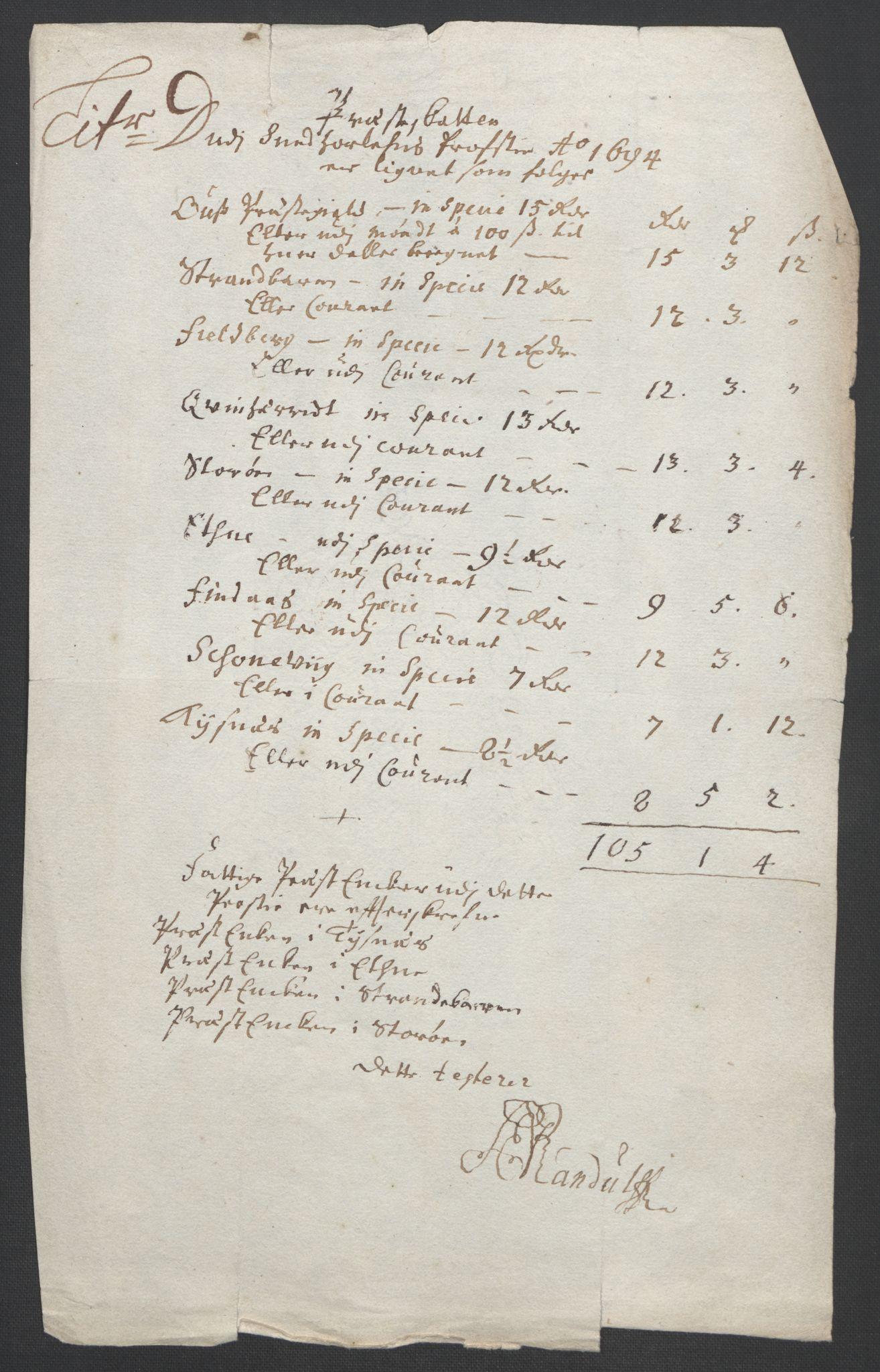 RA, Rentekammeret inntil 1814, Reviderte regnskaper, Fogderegnskap, R48/L2975: Fogderegnskap Sunnhordland og Hardanger, 1694, s. 89