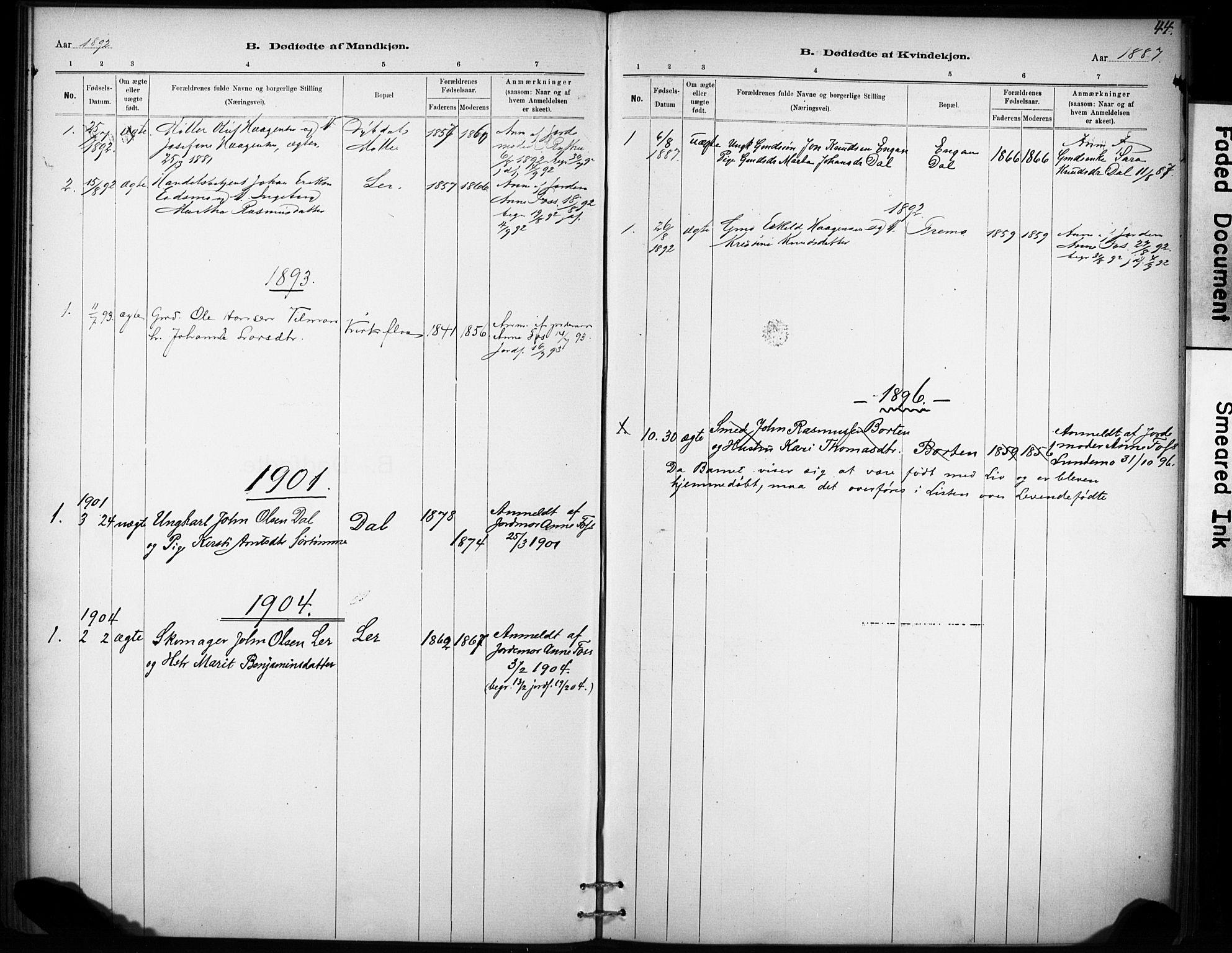 SAT, Ministerialprotokoller, klokkerbøker og fødselsregistre - Sør-Trøndelag, 693/L1119: Ministerialbok nr. 693A01, 1887-1905, s. 44