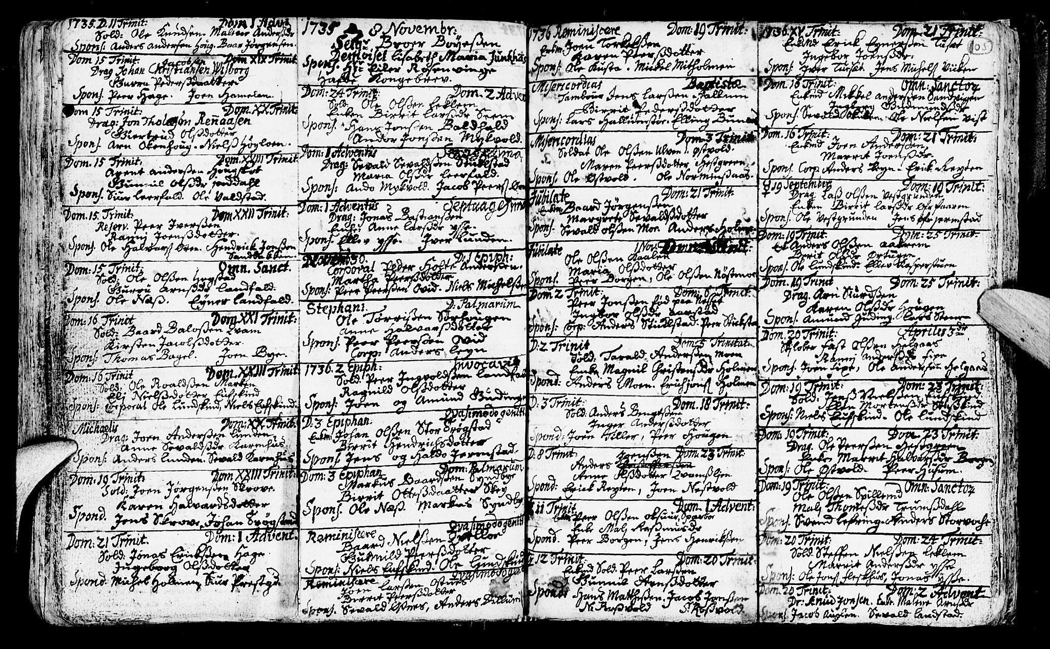 SAT, Ministerialprotokoller, klokkerbøker og fødselsregistre - Nord-Trøndelag, 723/L0230: Ministerialbok nr. 723A01, 1705-1747, s. 105