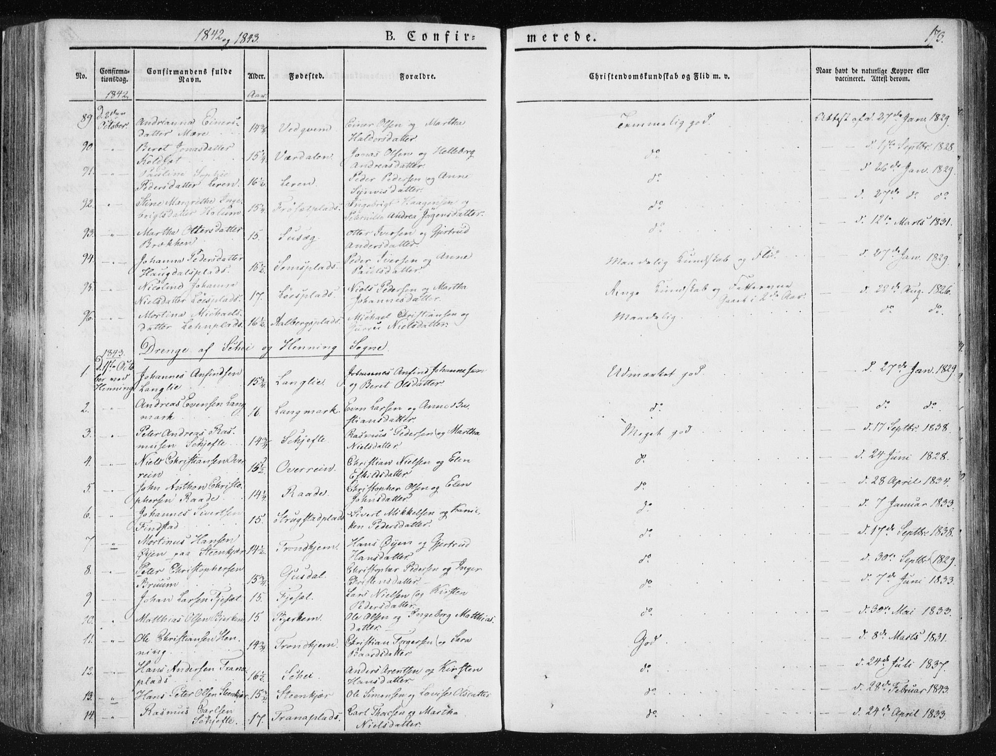SAT, Ministerialprotokoller, klokkerbøker og fødselsregistre - Nord-Trøndelag, 735/L0339: Ministerialbok nr. 735A06 /1, 1836-1848, s. 173