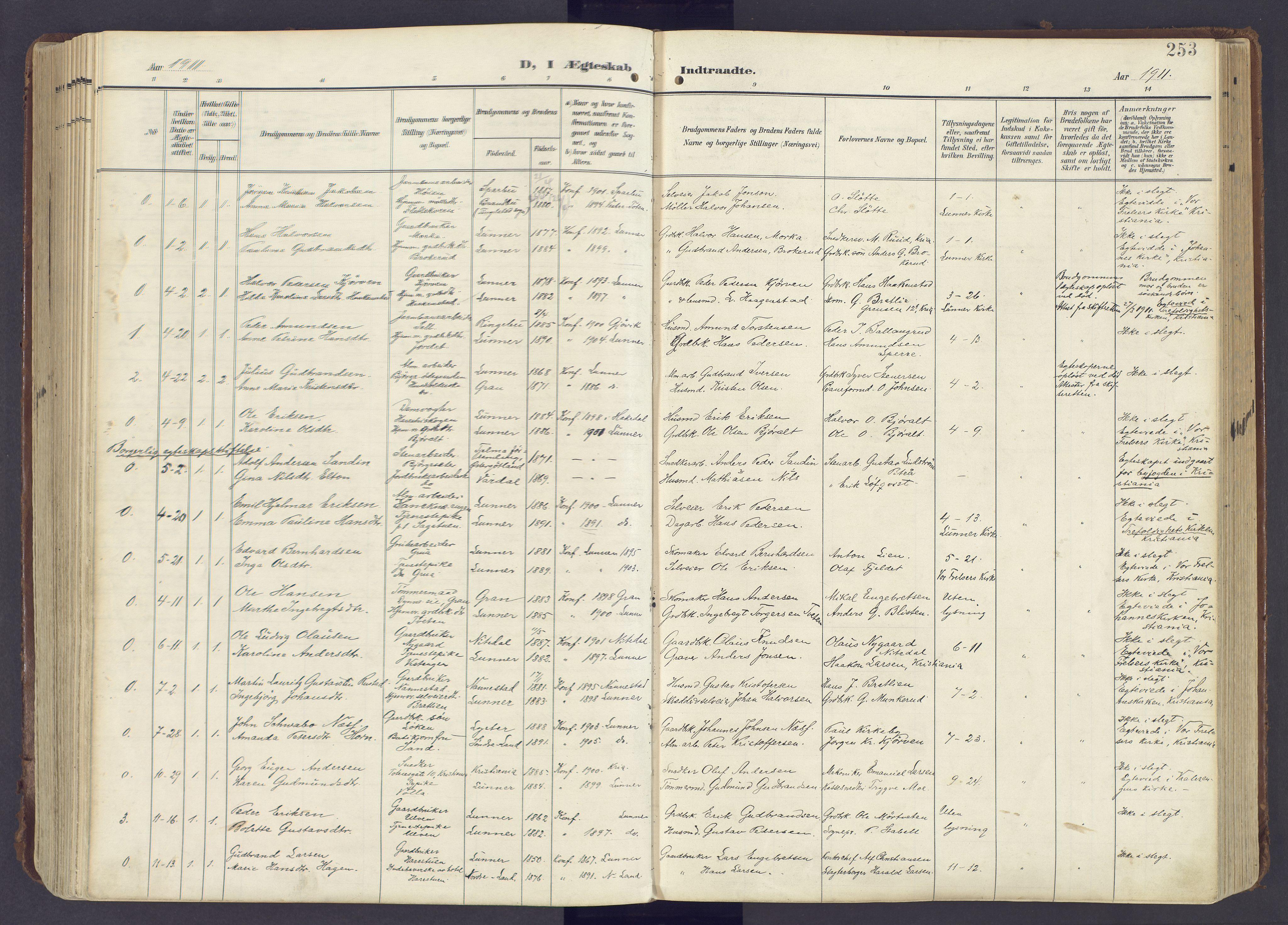 SAH, Lunner prestekontor, H/Ha/Haa/L0001: Ministerialbok nr. 1, 1907-1922, s. 253