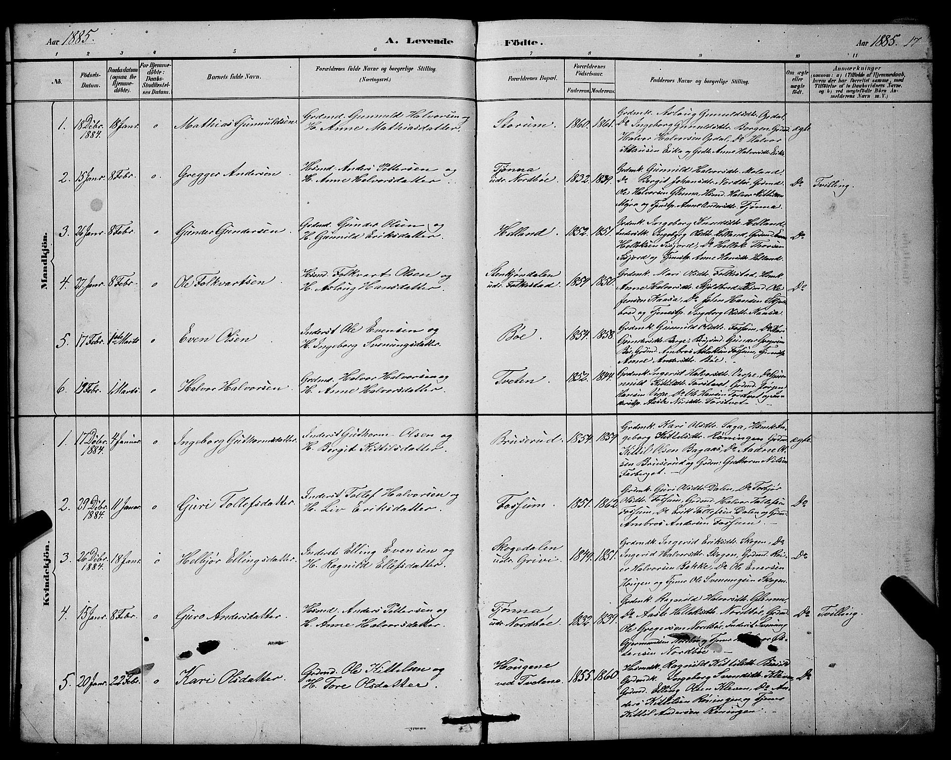 SAKO, Bø kirkebøker, G/Ga/L0005: Klokkerbok nr. 5, 1883-1897, s. 17