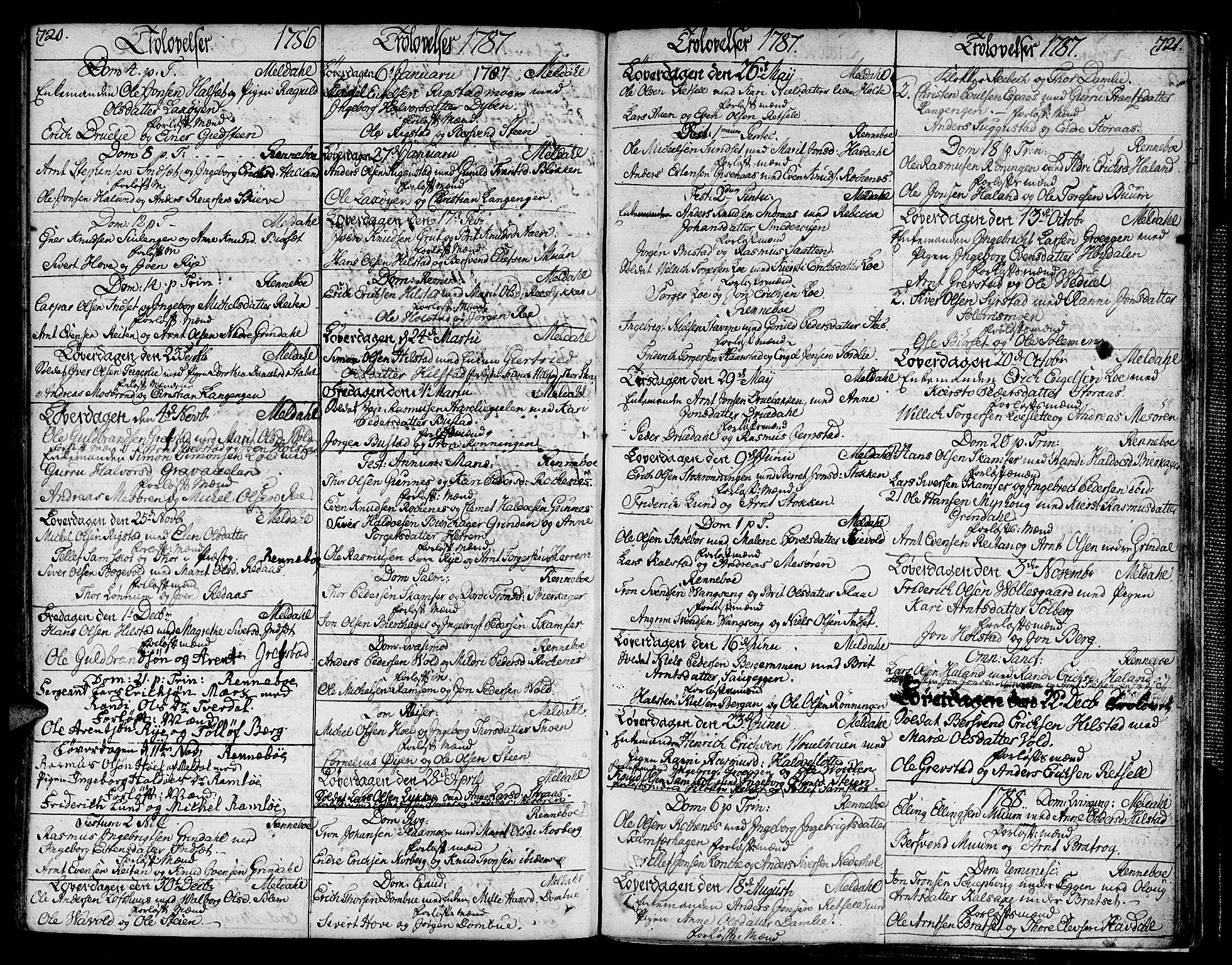 SAT, Ministerialprotokoller, klokkerbøker og fødselsregistre - Sør-Trøndelag, 672/L0852: Ministerialbok nr. 672A05, 1776-1815, s. 720-721