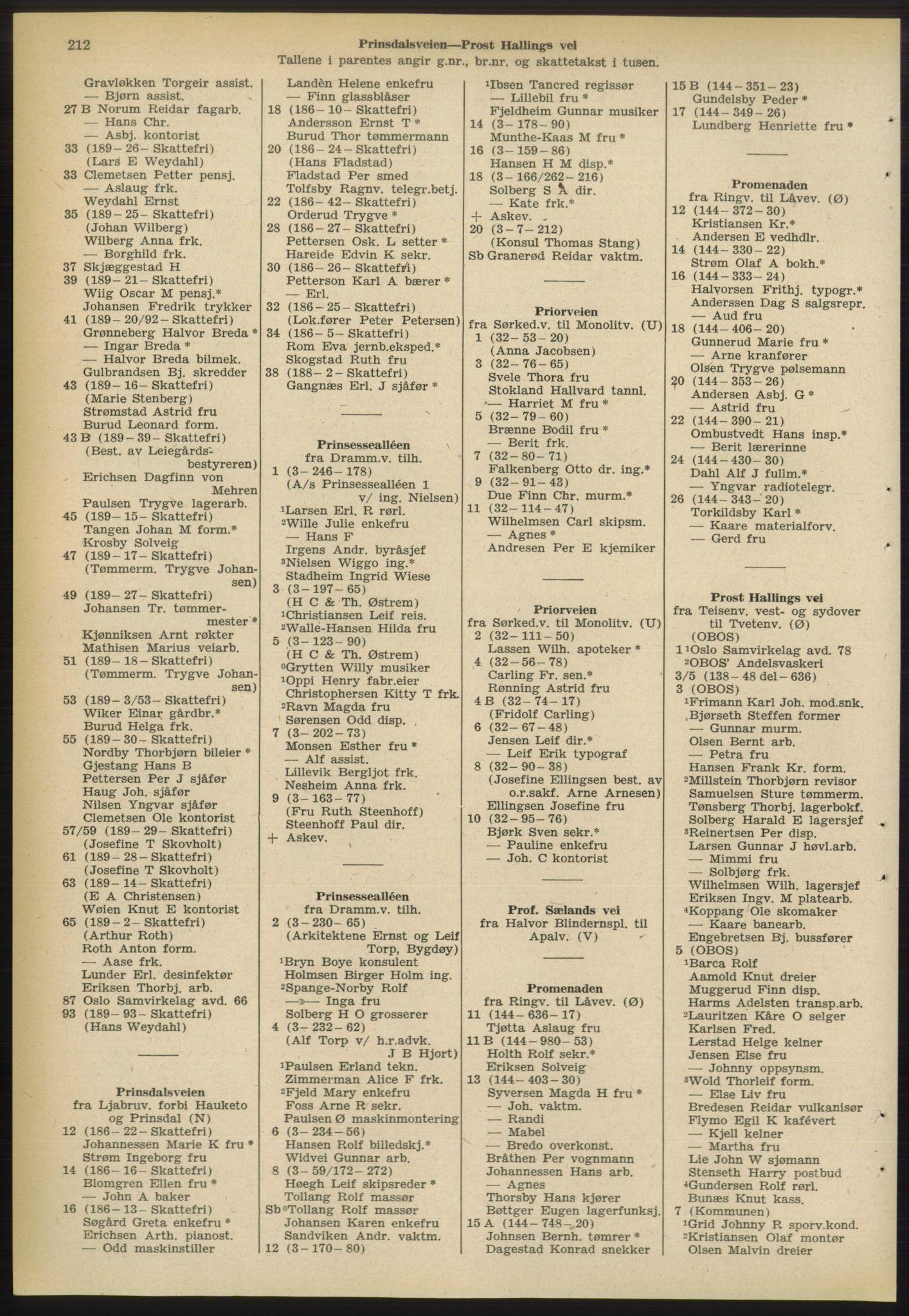 PUBL, Kristiania/Oslo adressebok, 1955, s. 212